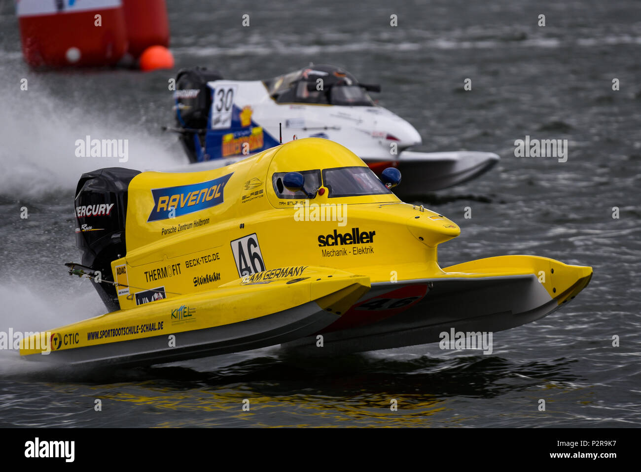 Max Stilz of Blaze Performance team racing in the F1H2O F4-S Powerboat Grand Prix of London at Royal Victoria Dock, Docklands, Newham, London, UK - Stock Image