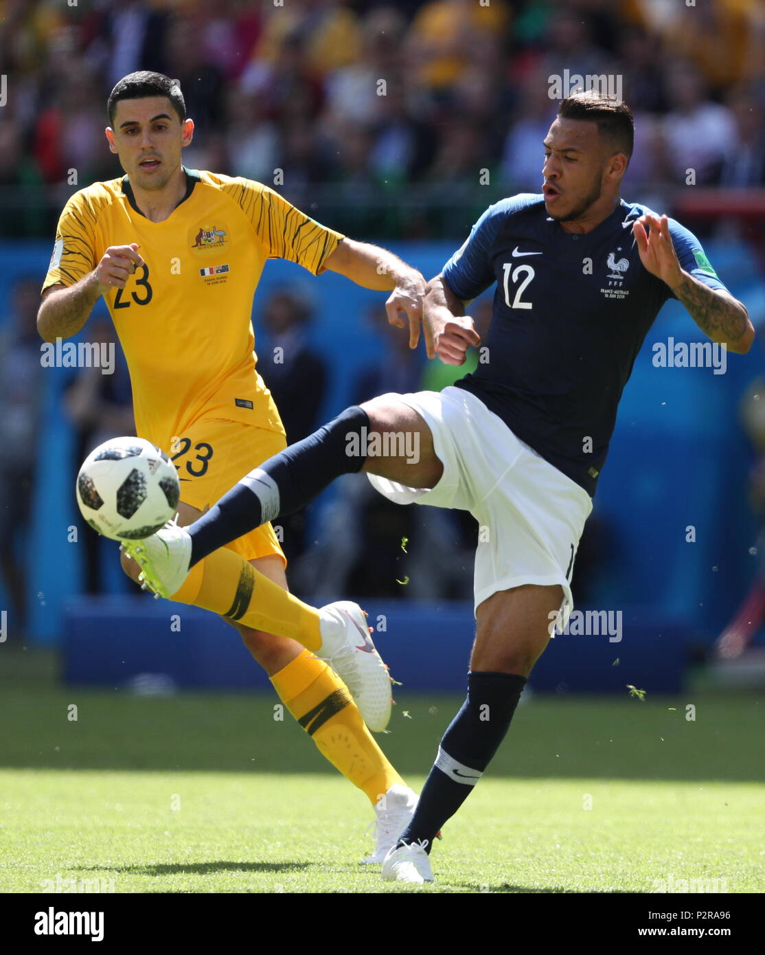 KAZAN, RUSSIA - JUNE 16, 2018: Australia's Tom Rogic (L) and France's Corentin Tolisso in their 2018 FIFA World Cup Group C Round 1 match at Kazan Arena Stadium; France wins 2-1. Yegor Aleyev/TASS - Stock Image