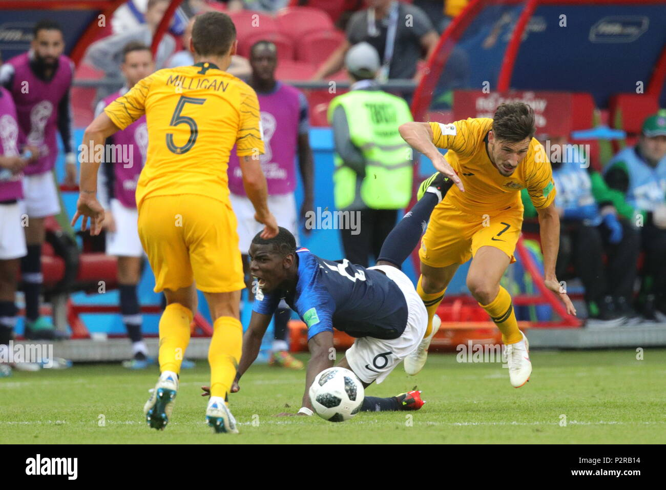 Kazan, Russia. 16th June, 2018. KAZAN, RUSSIA - JUNE 16, 2018: France's Paul Pogba (C), Australia's Mark Milligan (L) and Mathew Leckie in their 2018 FIFA World Cup Group C Round 1 match against Australia at Kazan Arena Stadium; France wins 2-1. Sergei Bobylev/TASS Credit: ITAR-TASS News Agency/Alamy Live News Stock Photo