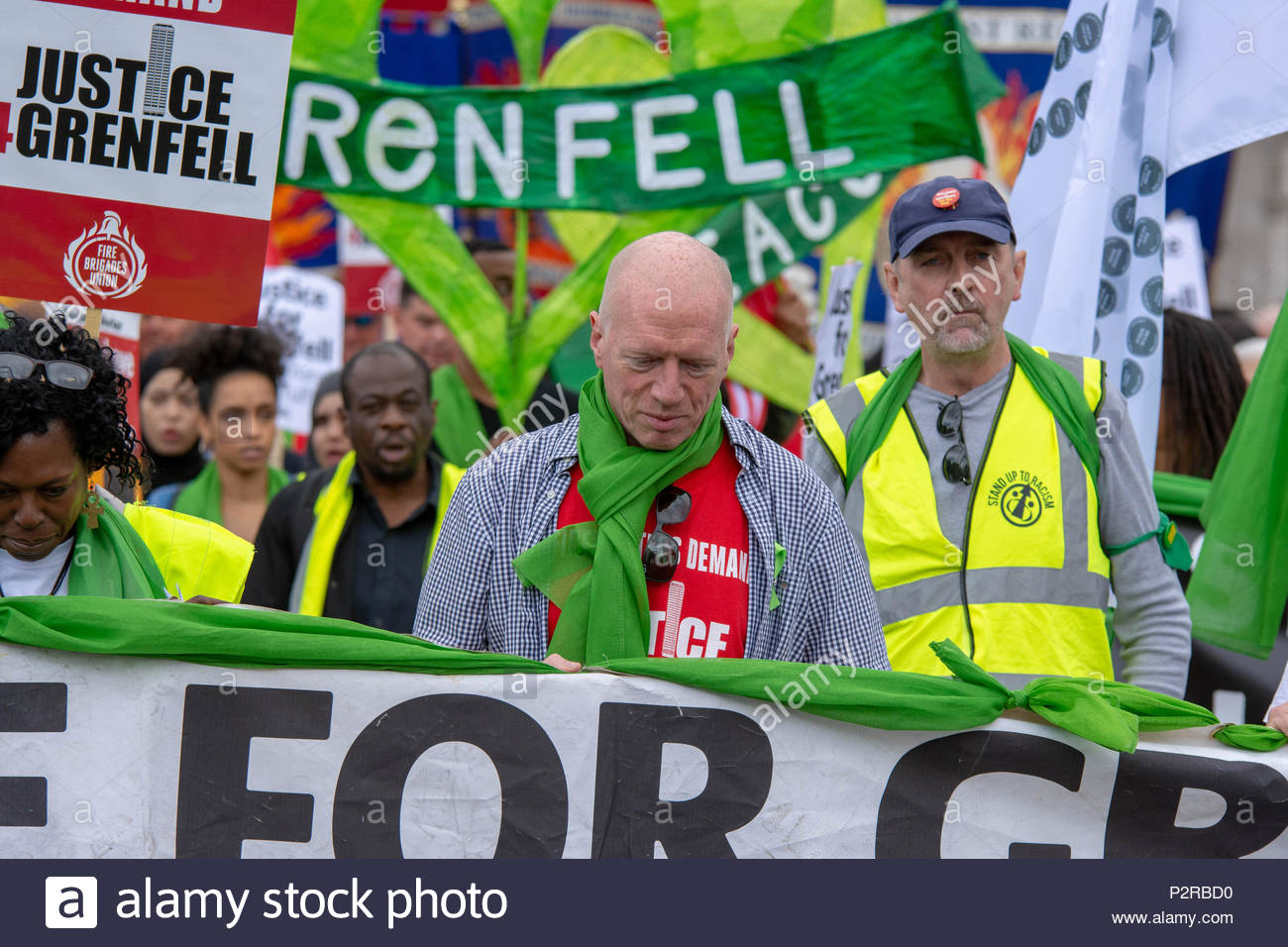 London, Great Britain, 16 Jun 2018 Justice4Grenfell and the FBU organise a march calling for justice for those killed and the survivors of the Grenfell Tower. Credit: David Nash/Alamy Live News - Stock Image