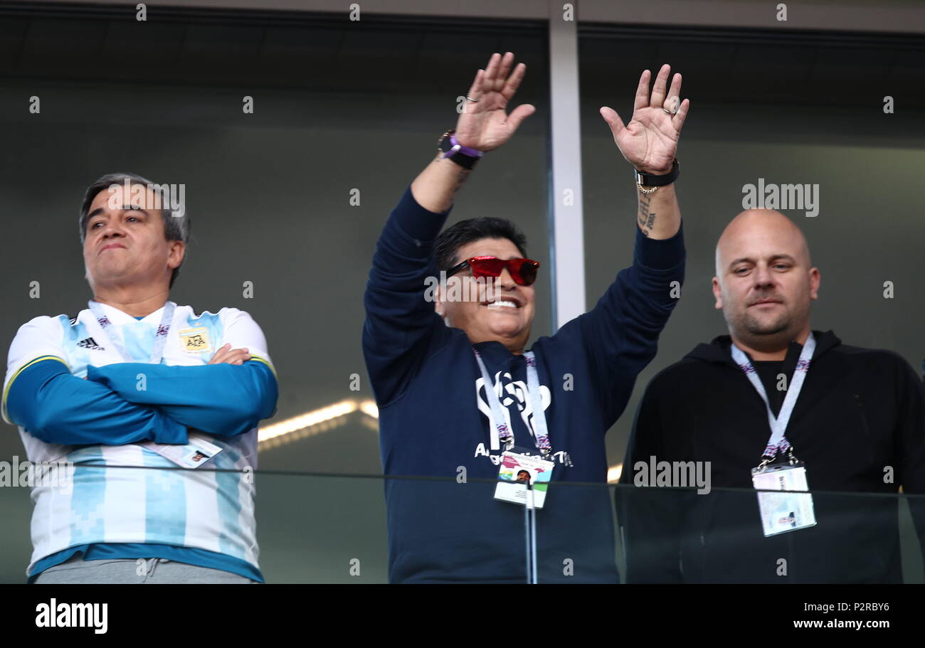 Moscow Russia 16th June 2018 Moscow Russia June 16 2018 Retired Argentine Footballer Diego Maradona C