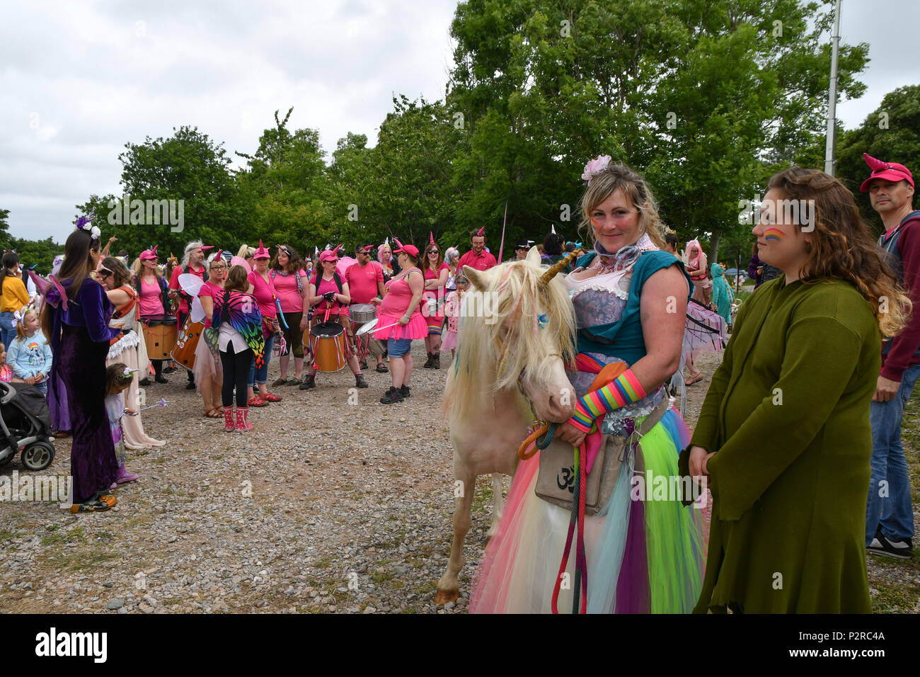 Mount Edgcumbe, Torpoint, Cornwall, UK. 16th June 2018. At the annual 3 wishes  fairy festival organisers are confident that the world record has been set for the largest gathering of people wearing Unicorn horns. Over 550 people were counted in. The final confirmed count will be confirmed later. Credit: Simon Maycock/Alamy Live News Credit: Simon Maycock/Alamy Live News - Stock Image
