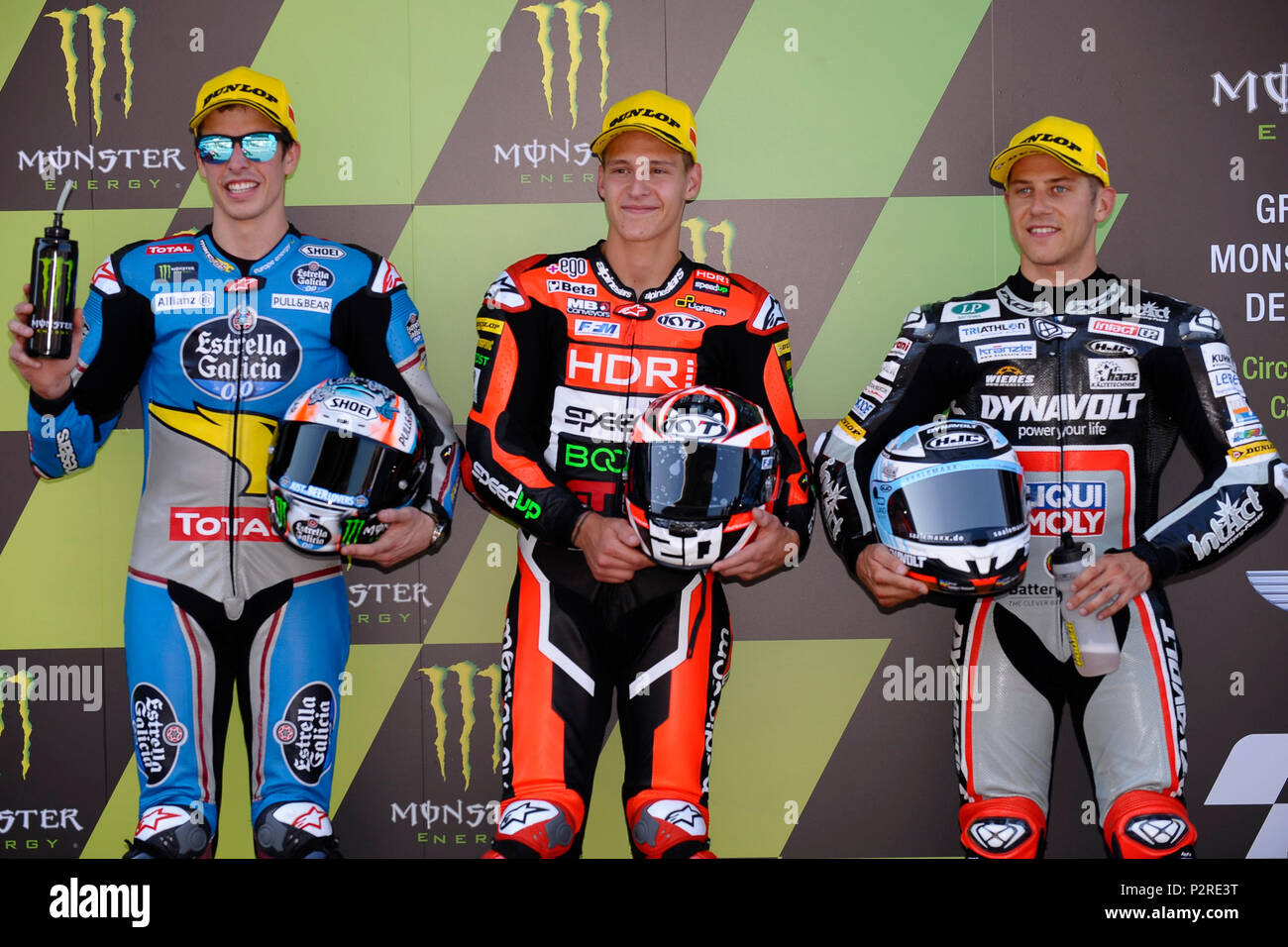Montmelo, Spain. 16th Jun, 2018. Alex Marquez (73) of Spain and Eg 0,0 Marc VDS Kalex , Fabio Quartararo (20) of France and Mb Conveyors - Speed Up Racing Speed Up and Marcel Schrotter (23) of Germany and Dynavolt Intact GP Kalex during the qualifying of the Gran Premi Monster Energy de Catalunya, Circuit of Catalunya, Montmelo, Spain.On 16 june of 2018. Credit: CORDON PRESS/Alamy Live News - Stock Image