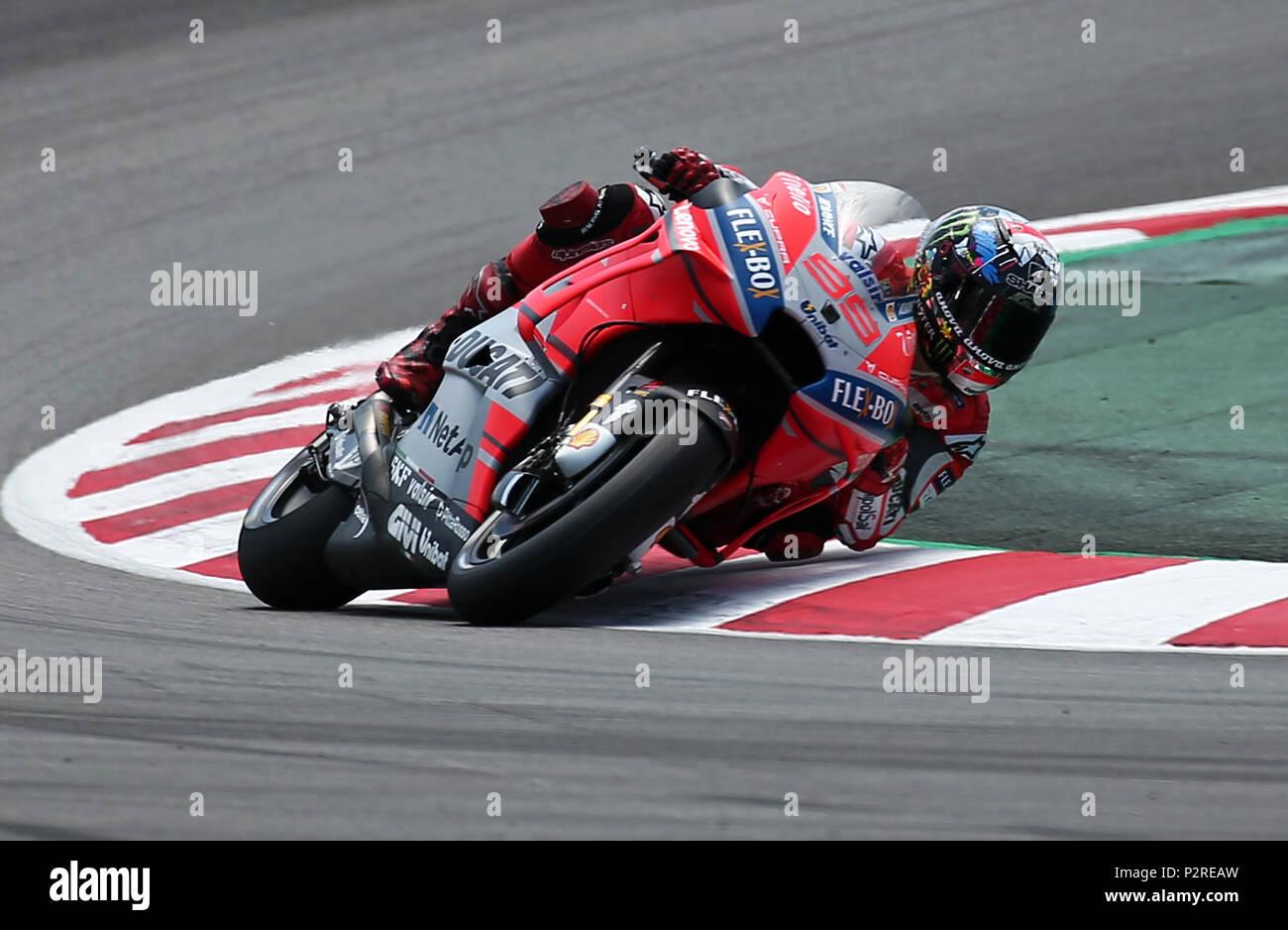 Barcelona -16th June 2018- SPAIN: Jorge Lorenzo (Ducati) during the free practice of the GP Catalunya Moto GP, in the Barcelona-Catalunya Circuit, on 16th June 2018. Photo: Joan Valls/Urbanandsport/Cordon Press - Stock Image