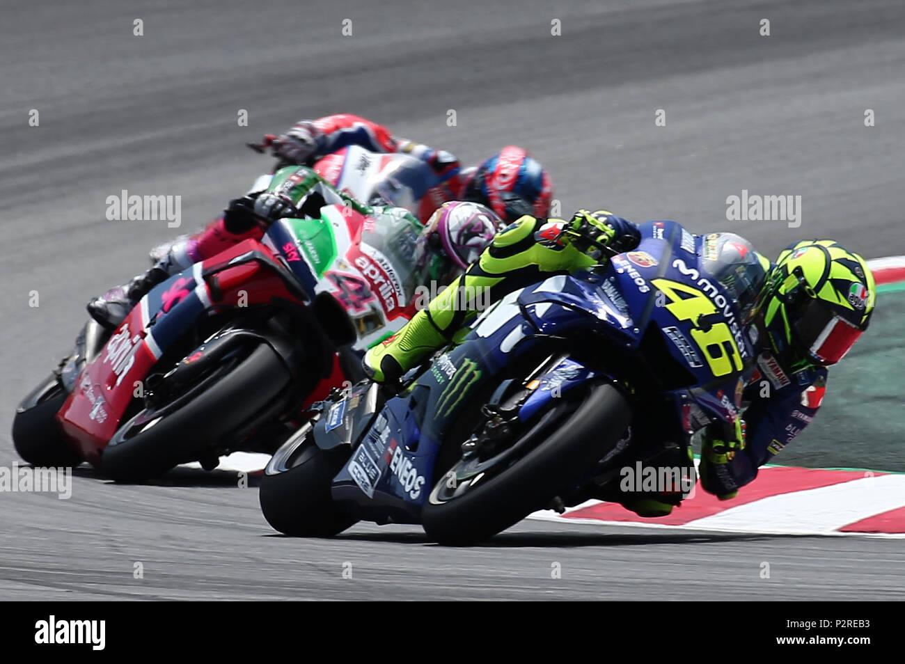 Barcelona -16th June 2018- SPAIN: Valentino Rossi (Yamaha) during the qualifying of the GP Catalunya Moto GP, in the Barcelona-Catalunya Circuit, on 16th June 2018. Photo: Joan Valls/Urbanandsport/Cordon Press - Stock Image