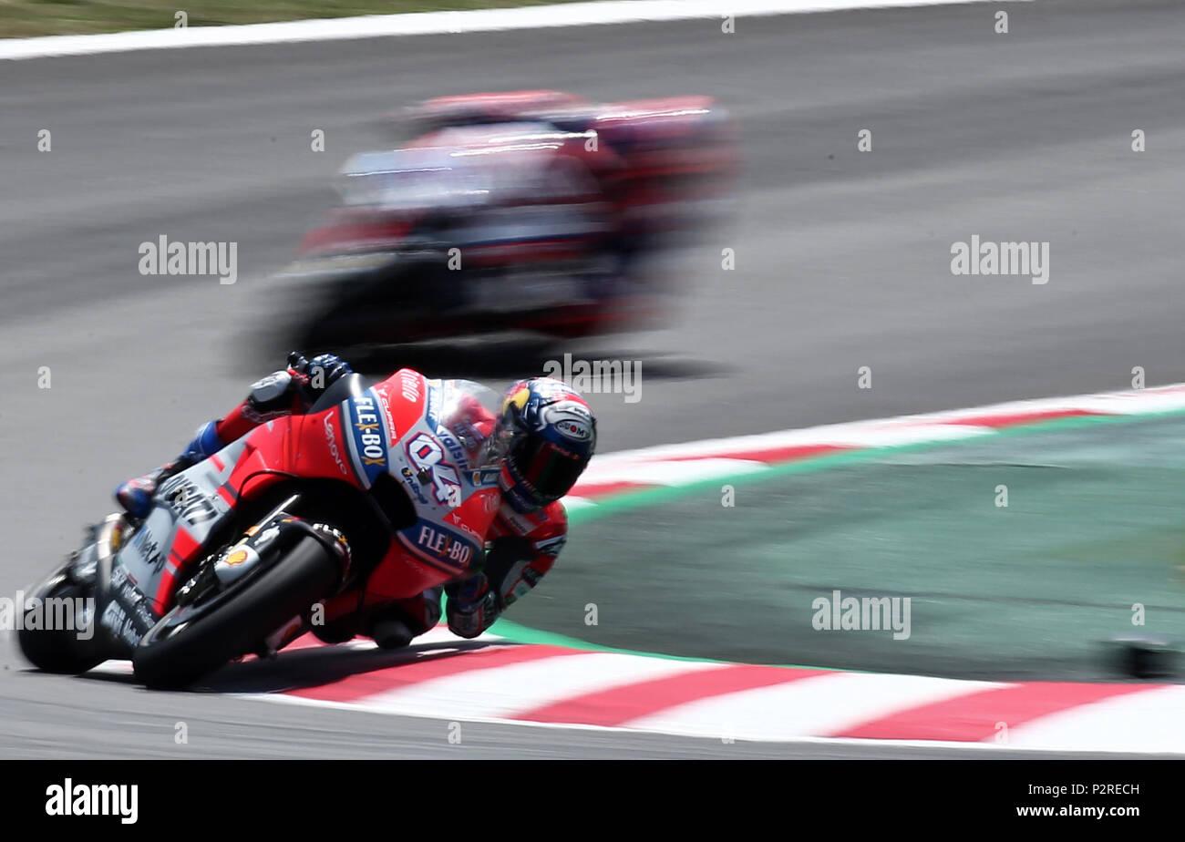 Barcelona -16th June 2018- SPAIN: Andrea Doviziosoi (Ducati) during the free practice of the GP Catalunya Moto GP, in the Barcelona-Catalunya Circuit, on 16th June 2018. Photo: Joan Valls/Urbanandsport/Cordon Press - Stock Image