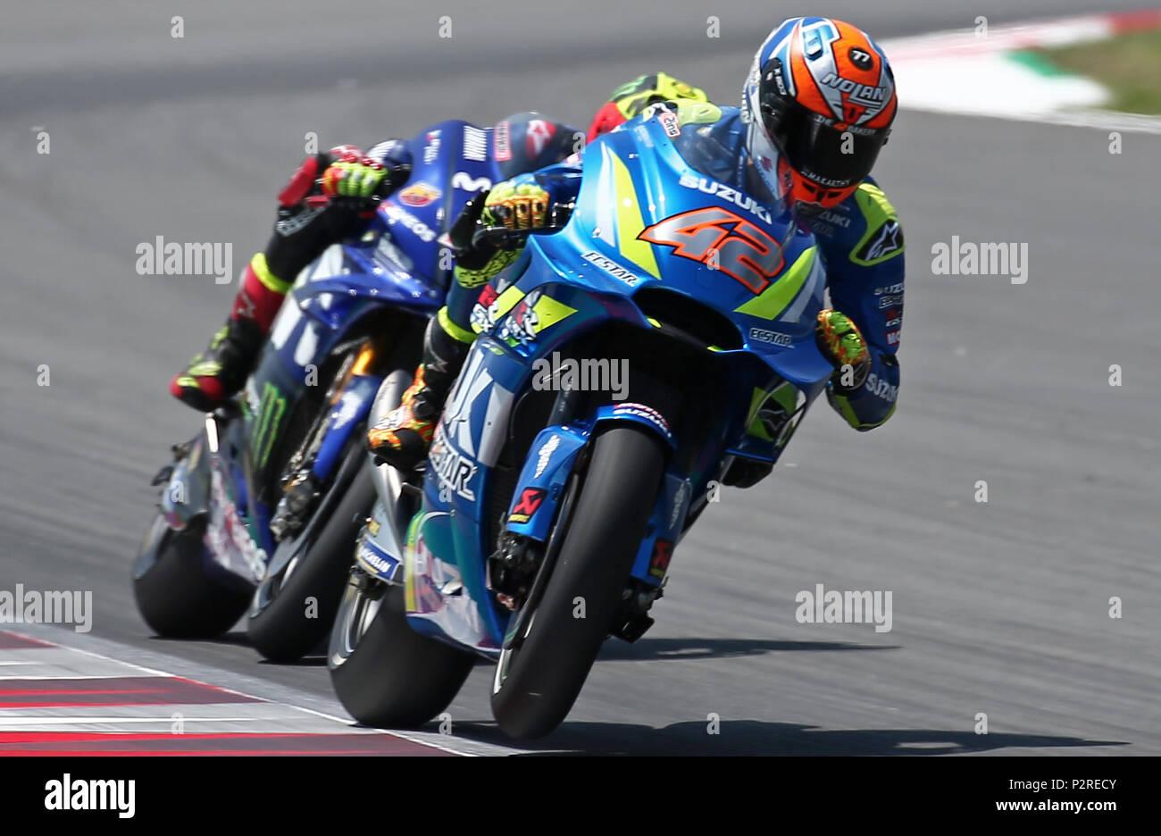 Barcelona -16th June 2018- SPAIN: Alex Rins (Suzuki) during the qualifying of the GP Catalunya Moto GP, in the Barcelona-Catalunya Circuit, on 16th June 2018. Photo: Joan Valls/Urbanandsport/Cordon Press - Stock Image