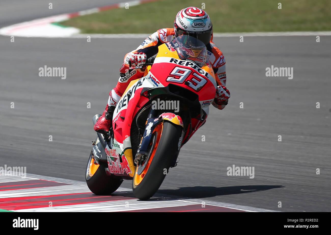 Barcelona -16th June 2018- SPAIN: Marc Marquez (Honda) during the qualifying of the GP Catalunya Moto GP, in the Barcelona-Catalunya Circuit, on 16th June 2018. Photo: Joan Valls/Urbanandsport/Cordon Press - Stock Image