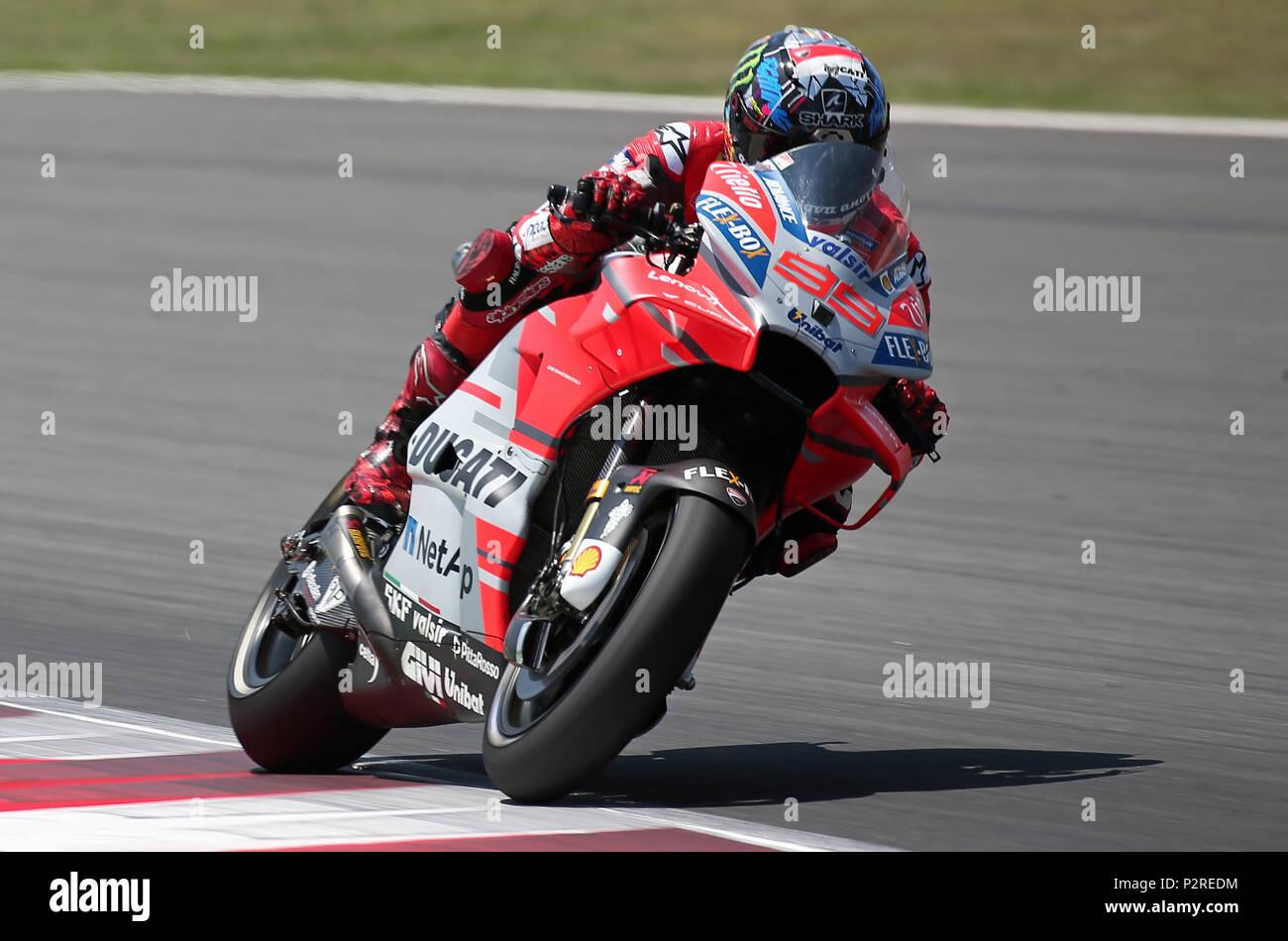 Barcelona -16th June 2018- SPAIN: Jorge Lorenzo (Ducati) during the qualifying of the GP Catalunya Moto GP, in the Barcelona-Catalunya Circuit, on 16th June 2018. Photo: Joan Valls/Urbanandsport/Cordon Press - Stock Image