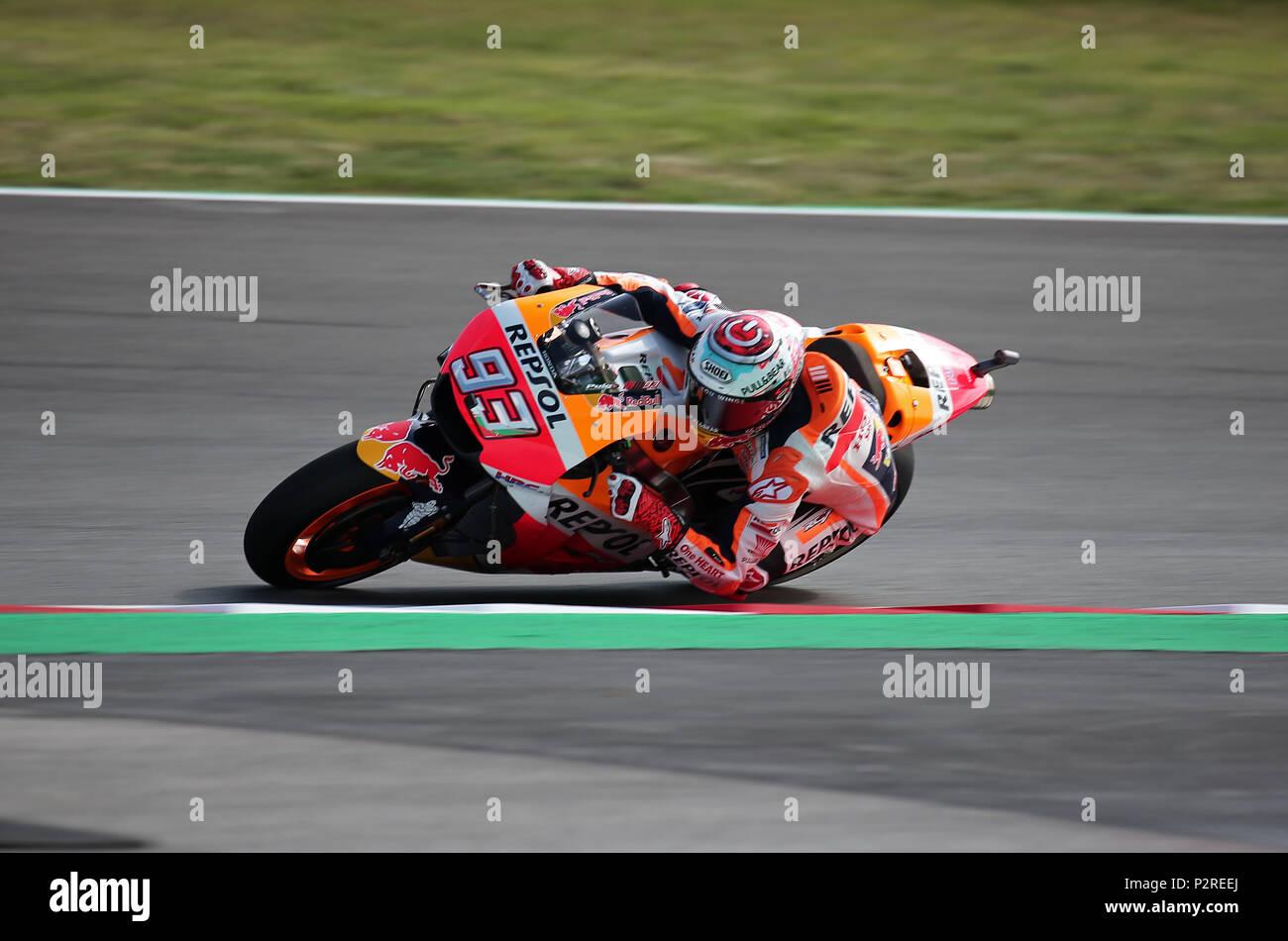 Barcelona -16th June 2018- SPAIN: Marc Marquez (Honda) during the free practice of the GP Catalunya Moto GP, in the Barcelona-Catalunya Circuit, on 16th June 2018. Photo: Joan Valls/Urbanandsport/Cordon Press - Stock Image