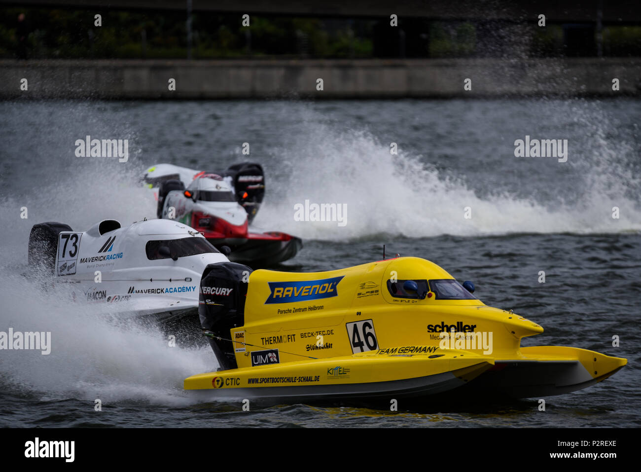 Max Stilz driving for Blaze Performance racing in the F1H2O F4-S Powerboat Grand Prix of London at Royal Victoria Dock, Docklands, Newham, London, UK - Stock Image