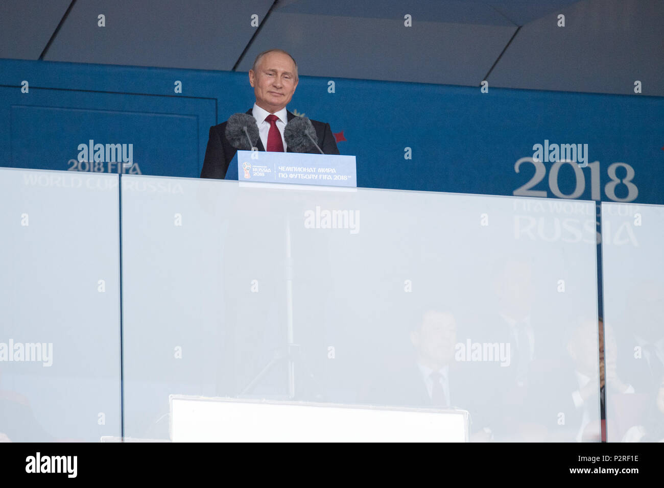 Vladimir Vladimirovich PUTIN, President of the Russian Federation, gives the opening speech, talks, talking, half figure, half figure, opening speech, opening, celebration, Russia (RUS) - Saudi Arabia (KSA) 5: 0, preliminary round, group A, match 1 , on 14.06.2018 in Moscow; Football World Cup 2018 in Russia from 14.06. - 15.07.2018. | usage worldwide - Stock Image
