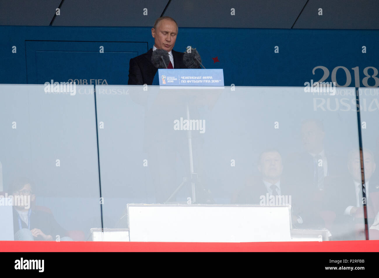 Moscow, Russland. 14th June, 2018. Vladimir Vladimirovich PUTIN, President of the Russian Federation, gives the opening speech, talks, talking, half figure, half figure, opening speech, opening, celebration, Russia (RUS) - Saudi Arabia (KSA) 5: 0, preliminary round, group A, match 1, on 14.06.2018 in Moscow; Football World Cup 2018 in Russia from 14.06. - 15.07.2018. | usage worldwide Credit: dpa/Alamy Live News - Stock Image