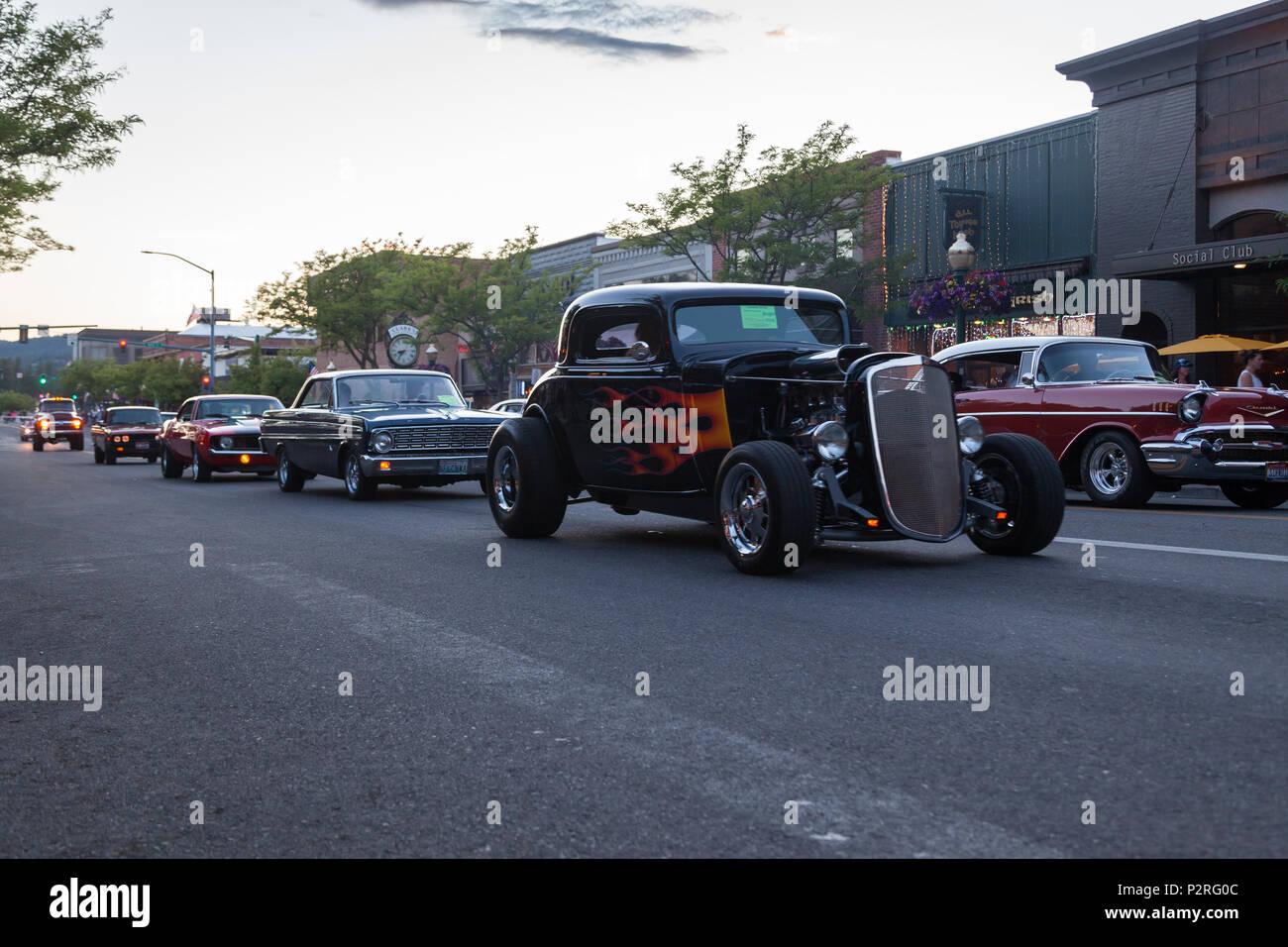 Coeur D Alene Idaho June Restored Classic Vehicles - Car show downtown