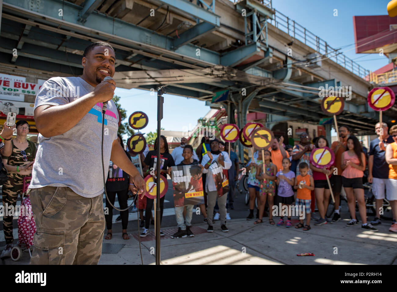 Philadelphia, USA. 16th Jun, 2018. State Representative Jason Dawkins gives an impassioned speach about gun violence and invites young people to challenge him to find them jobs to prevent more violence in the community. June 16 2018. Credit: Chris Baker Evens. Credit: Christopher Evens/Alamy Live News - Stock Image