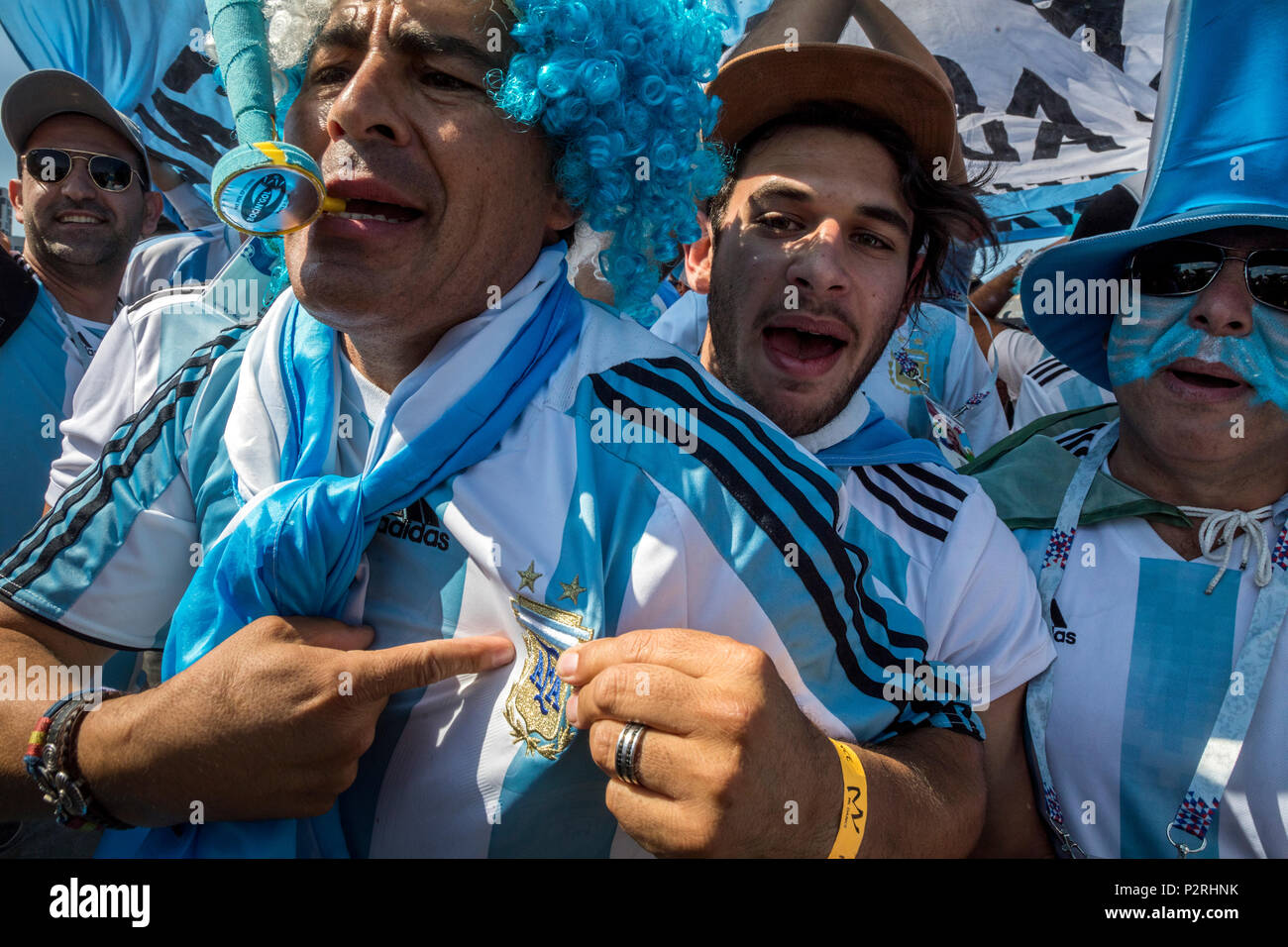 Moscow, Russia. 16th June, 2018. Argentine fans before start the 2018 FIFA World Cup Russia Group D match between Argentina and Iceland at the Spartak Stadium in Moscow, Russia Credit: Nikolay Vinokurov/Alamy Live News - Stock Image