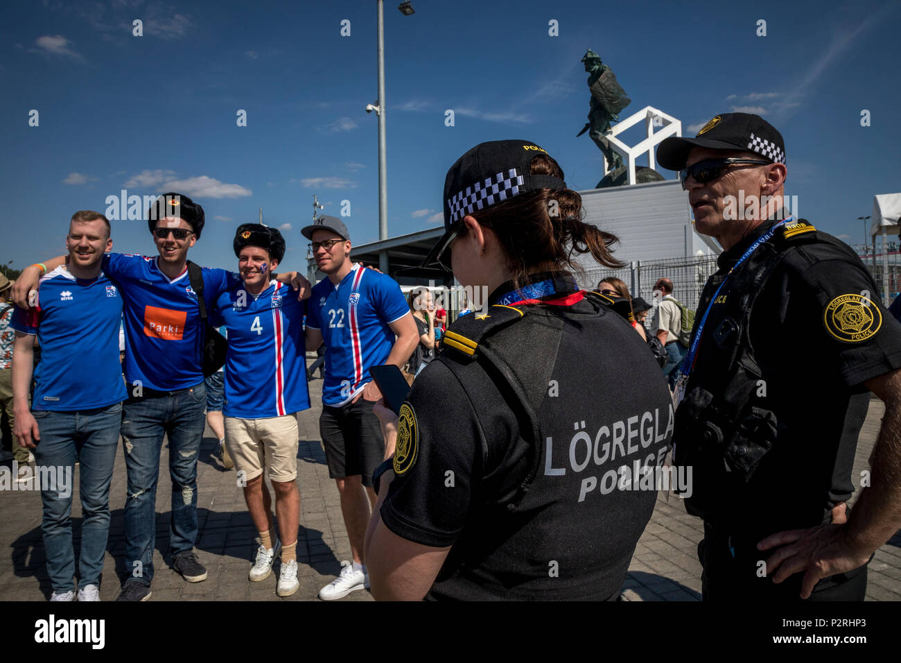 Moscow, Russia. 16th June, 2018. Iceland fans and police before start the 2018 FIFA World Cup Russia Group D match between Argentina and Iceland at the Spartak Stadium in Moscow, Russia Credit: Nikolay Vinokurov/Alamy Live News - Stock Image