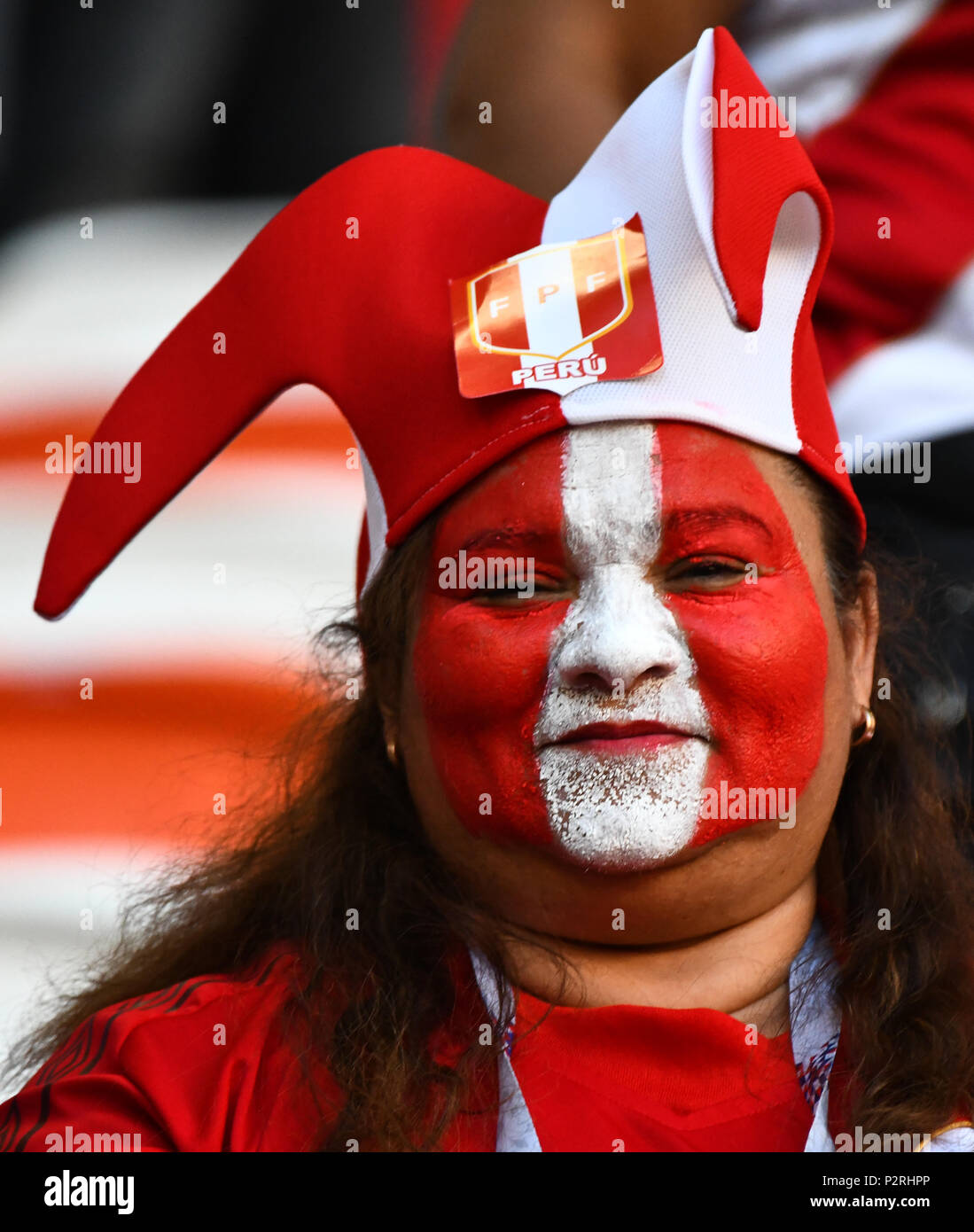 Mordovia Arena Mordovia Russia 16th June 2018 Fifa World Cup Football Group C Peru Versus Denmark Peru Fan In Team Colours And Face Paint Before The Game Credit Action Plus Sports Alamy Live