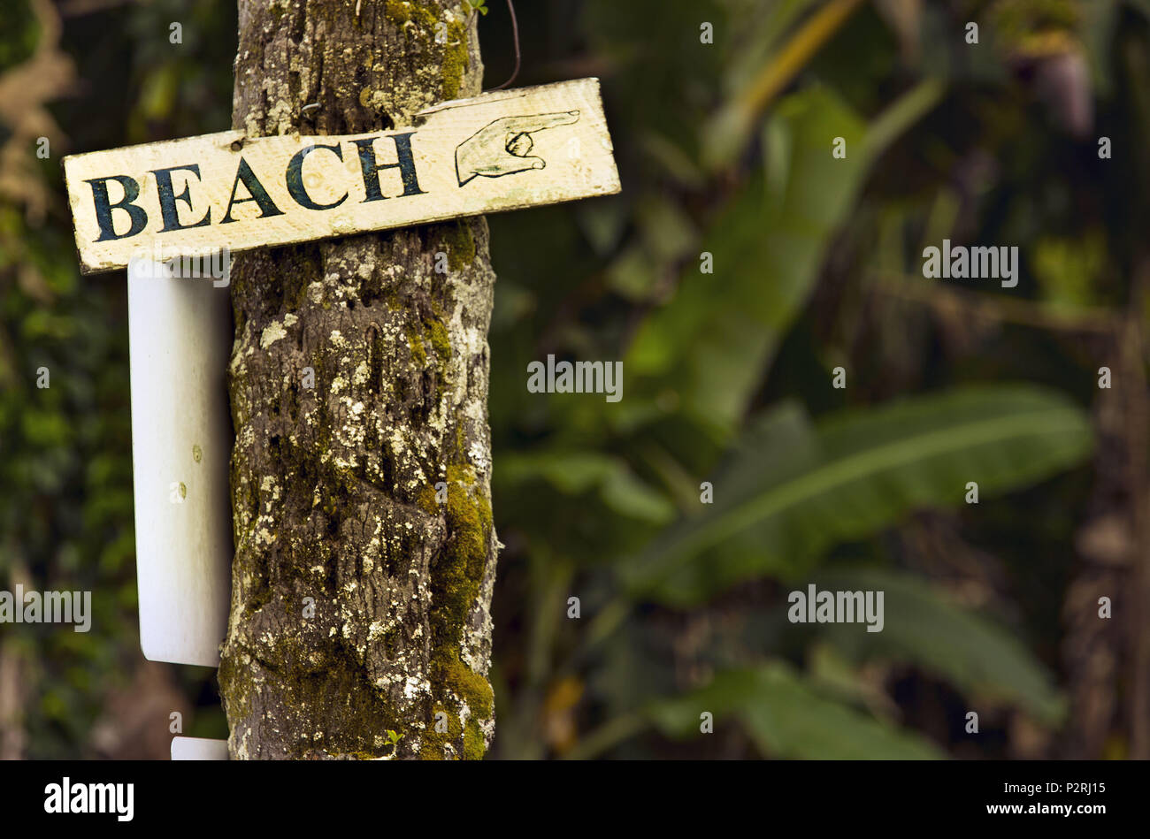 Pahoa, Hawaii, USA. 6th June, 2018. A sign points to the beach as all is well in Hilo while the Kilauea Volcano lower east rift zone continues the eruption on Wednesday, June 6, 2018, in Pahoa, Hawaii. Credit: L.E. Baskow/ZUMA Wire/Alamy Live News Stock Photo