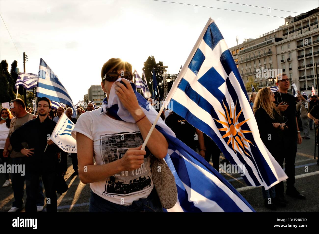 Athens Greece 16th June 2018 Demonstrators Seen Displaying The