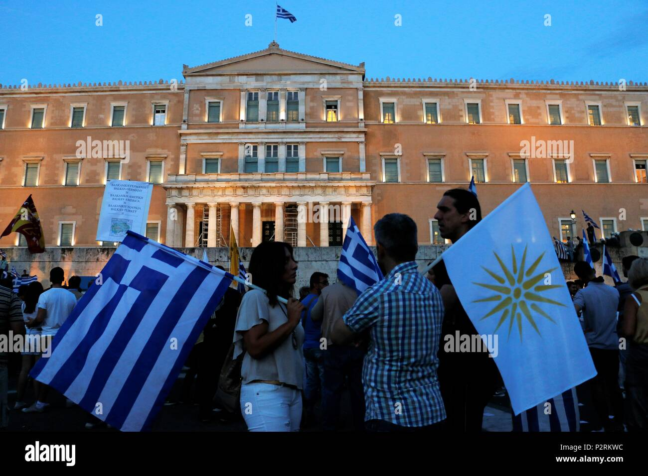 Athens Greece 16th June 2018 Demonstrators Seen Holding Flags In
