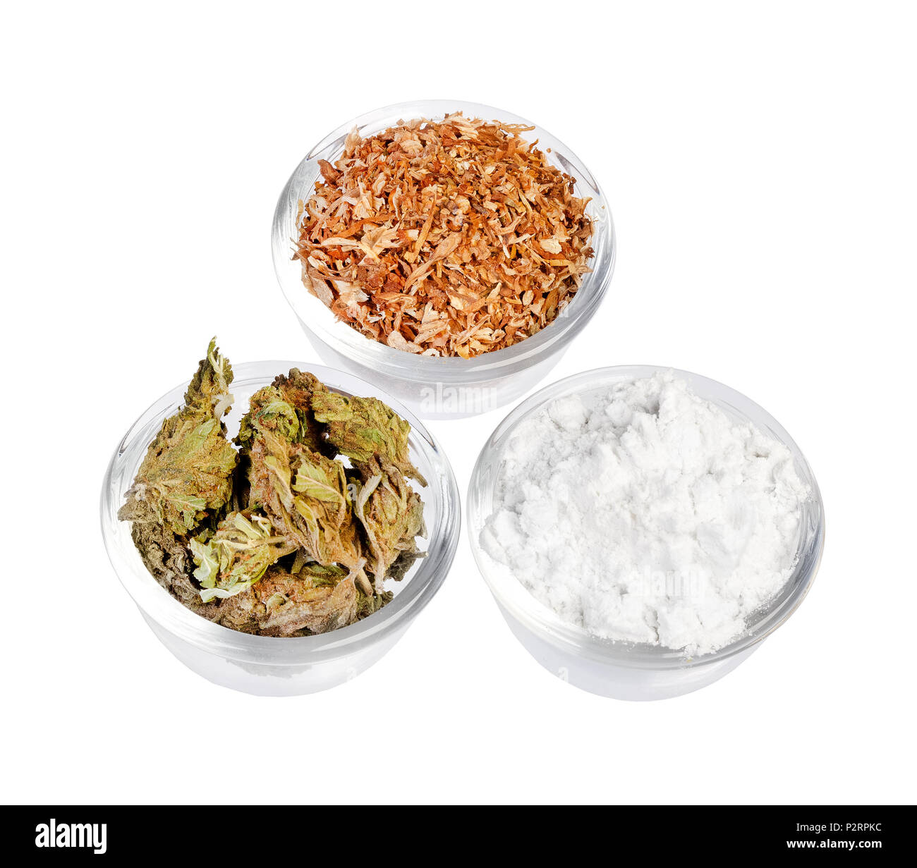 Plates with cocaine, cannabis tobacco isolated on background - Stock Image