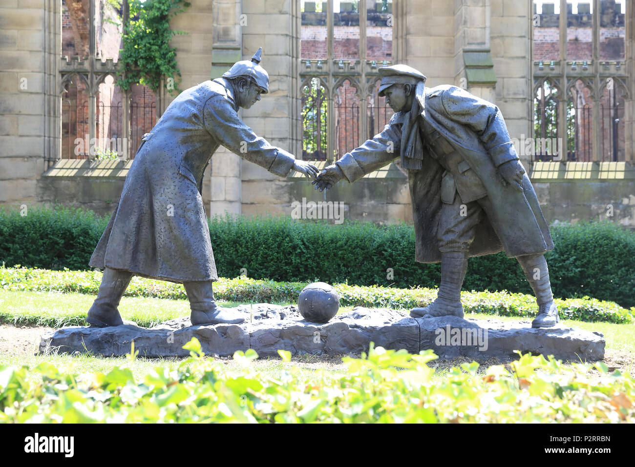 Ww2 Christmas Day.All Together Now Sculpture Representing The 1914 Christmas