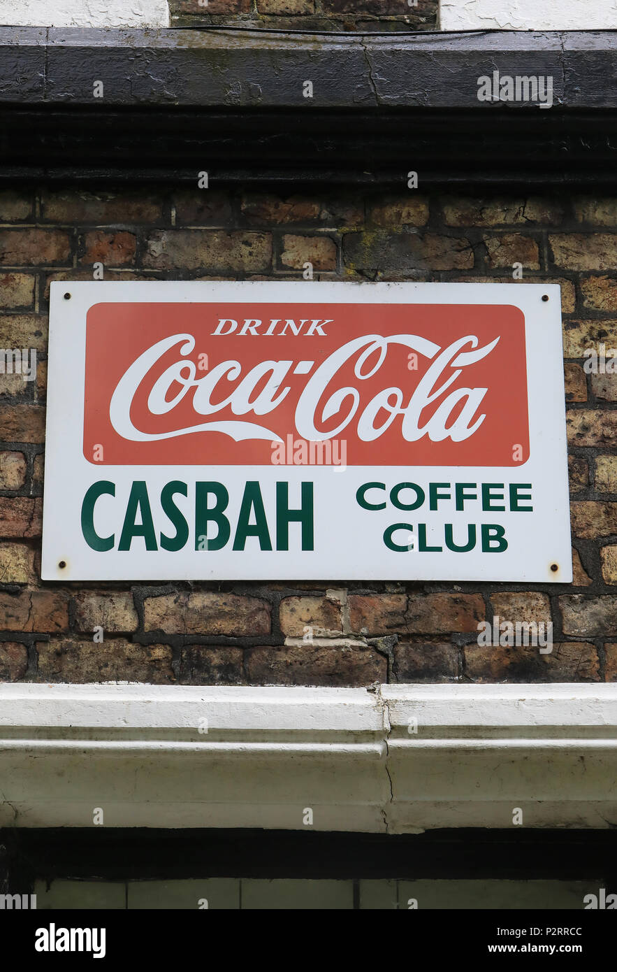 Sign for the Casbah Coffee Club, a rock and roll venue in the converted cellar of a heritage listed house in Liverpool, where the Beatles first played - Stock Image