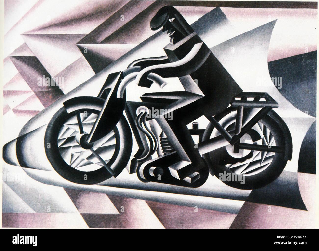 . Italiano: Il motociclista . 1923. Fortunato Depero 30 Fortunato Depero Il motociclista Stock Photo