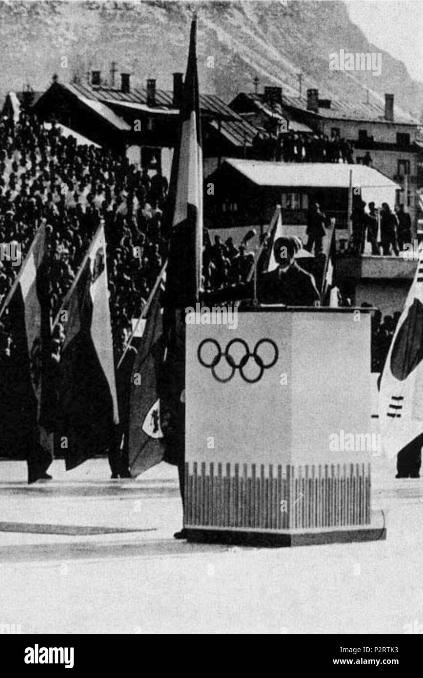 2 1956 Winter Olympics athletes' oath - Stock Image