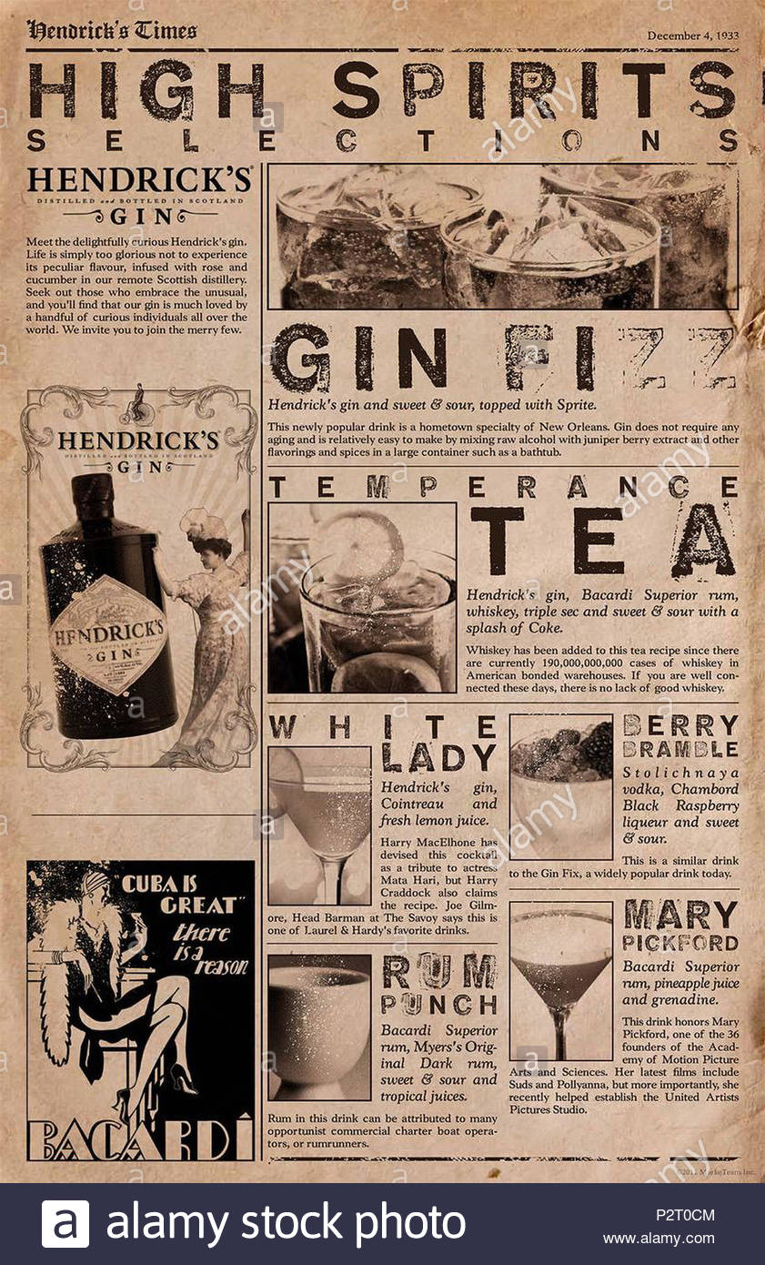 Hendrick's gin adds in December 4, 1933 - Stock Image