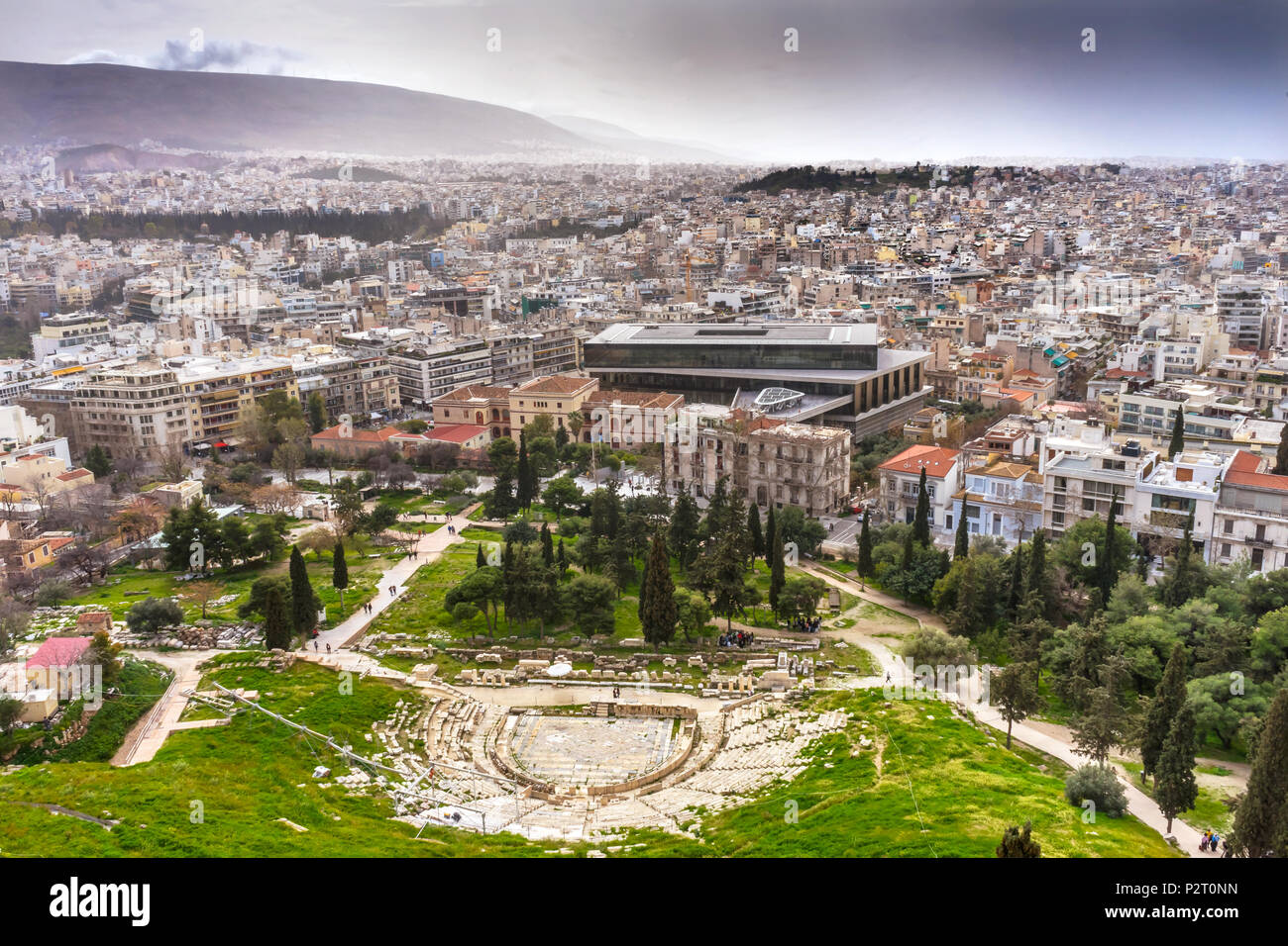 Theater of Dinoysus Acropolis Athens Greece. Oldest Theater in the World, founded in early 500s BC.  Acropolis Museum Neighborhoods, - Stock Image