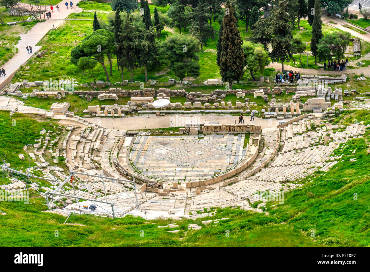 Theater of Dinoysus Acropolis Athens Greece. Oldest Theater in the World, founded in early 500s BC. - Stock Image
