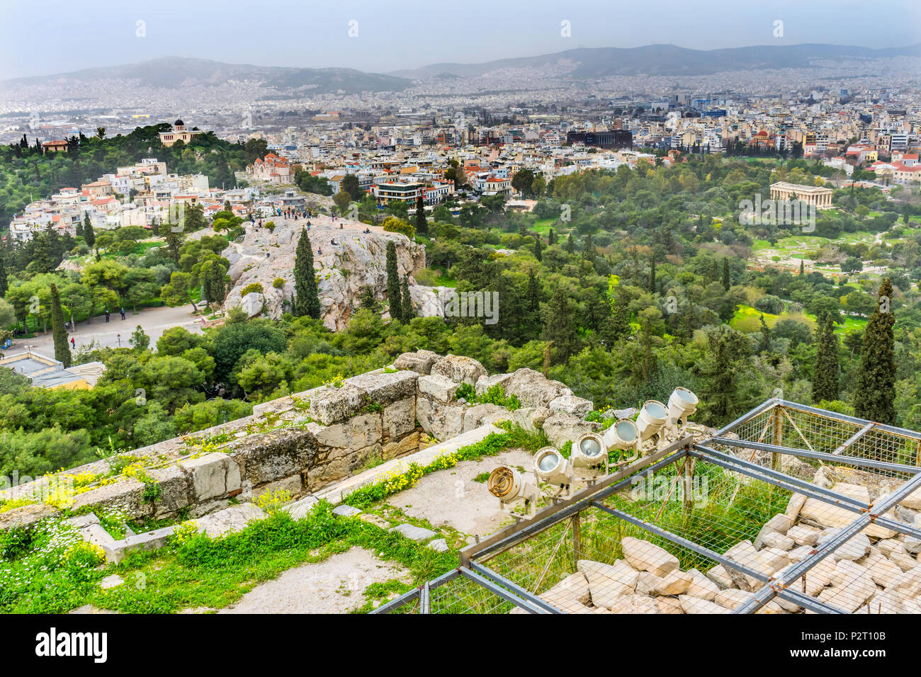 Areopagus Saint Paul Rock Agora Acropolis Athens Greece. Areopagus rock where Saint Paul made his speech about unknown god in Athens.  Agora is Athens - Stock Image