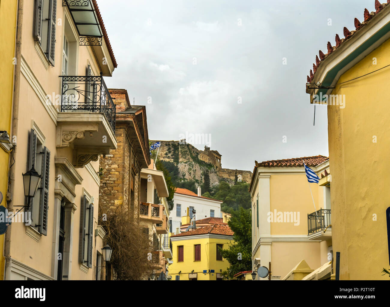 Plaka Ancient Greek Neighborhoods and Shopping Streets Next To Acropolis Athens Greece. - Stock Image
