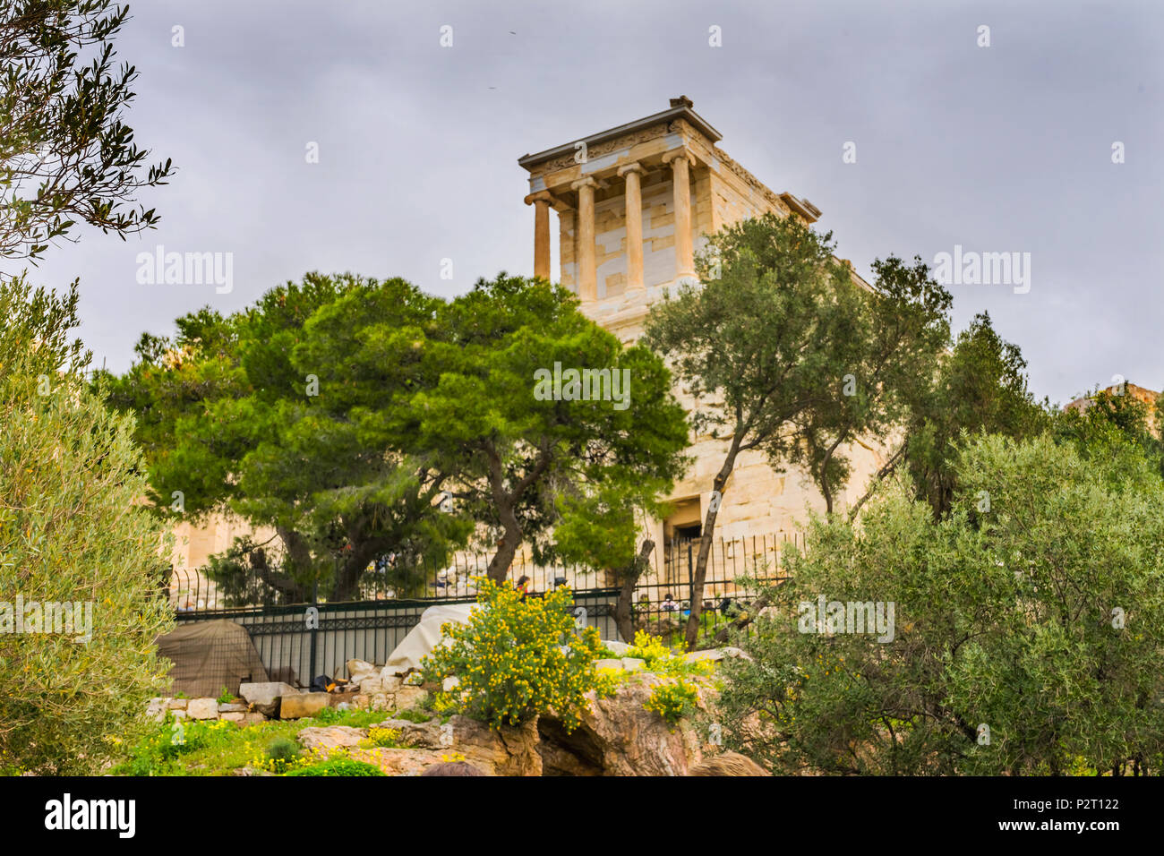 Olive Trees Temple of Athena Nike Propylaea Ancient Entrance Gateway Ruins Acropolis Athens Greece Construction ended in 432 BC Temple built 420 BC.   - Stock Image