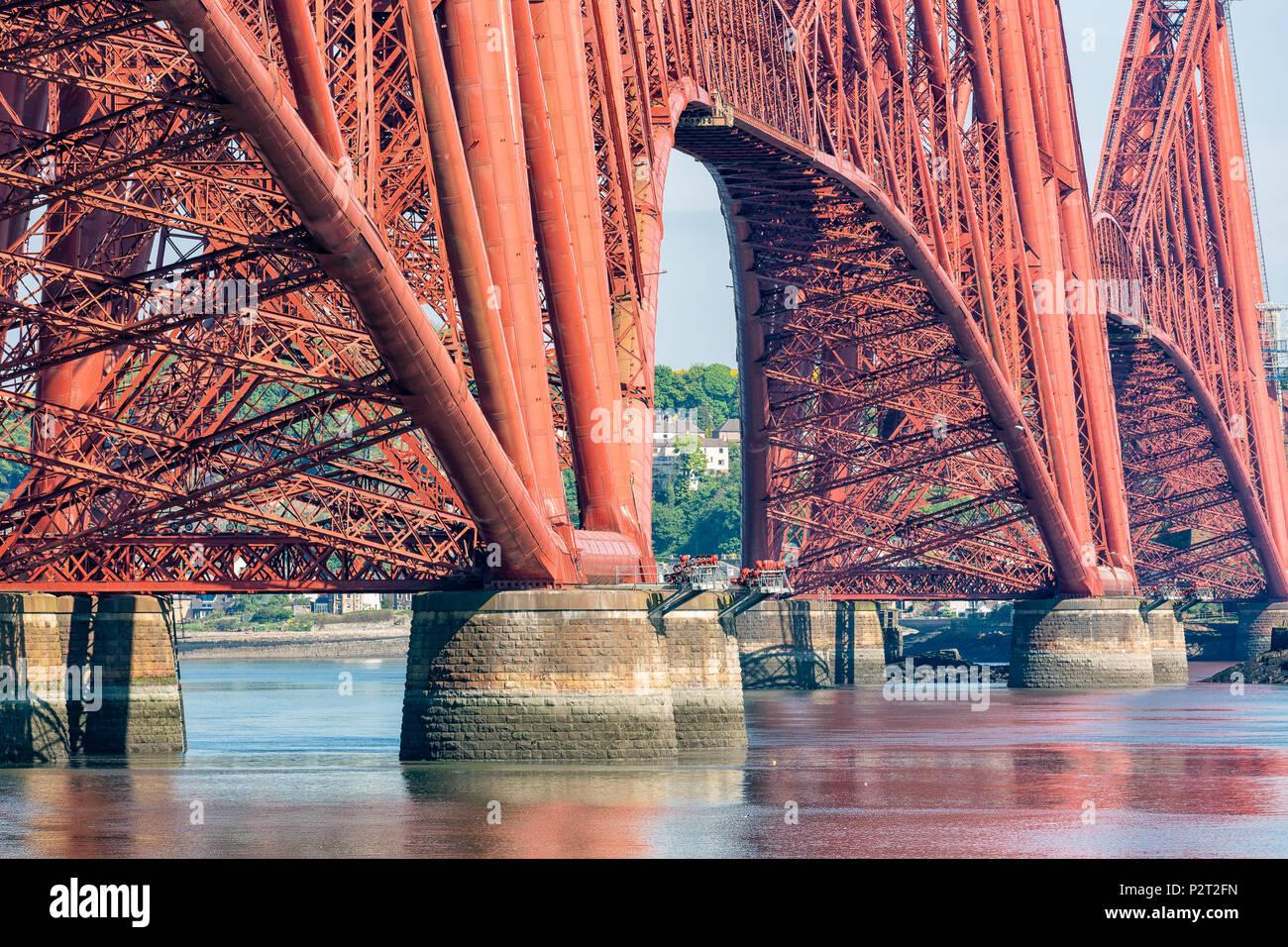 Forth Bridge, railway bridge over Firth of Forth near Queensferry in Scotland Stock Photo