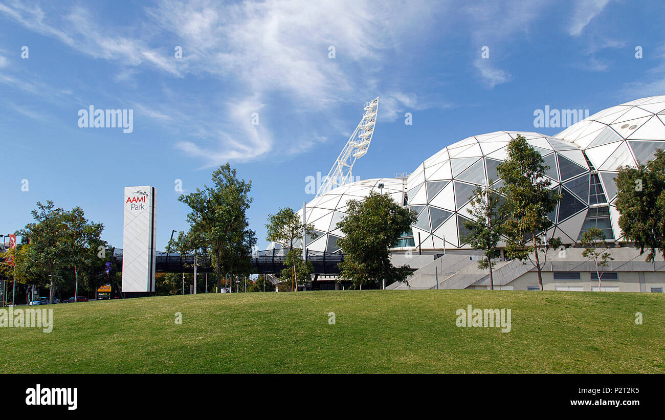 Melbourne, Australia: April 09, 2018: The Melbourne Rectangular Stadium commercially known as AAMI Park, is an outdoor sports stadium. - Stock Image