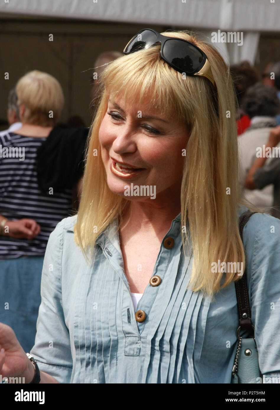 Sian Lloyd September 4th 2010. Welshpool, Wales. Welsh Food Festival. The celebrity TV presenter and weather forecaster chats to members of the public - Stock Image