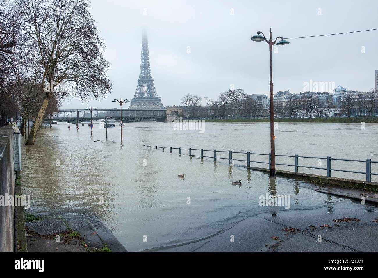 France, Paris, area listed as World Heritage by UNESCO, the flood of the Seine river, right bank flooded right, the Bir Hakeim bridge and the Eiffel Tower - Stock Image