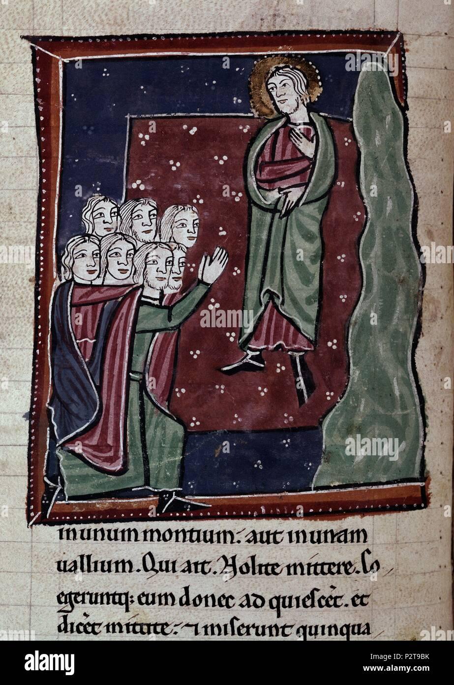 BIBLIA S XIII-TOMO I-HOMBRES PIDEN A ELISEO LA BUSQUEDA DE ELIAS-MINIATURA GOTICA. Location: ACADEMIA DE LA HISTORIA-COLECCION, MADRID, SPAIN. - Stock Image