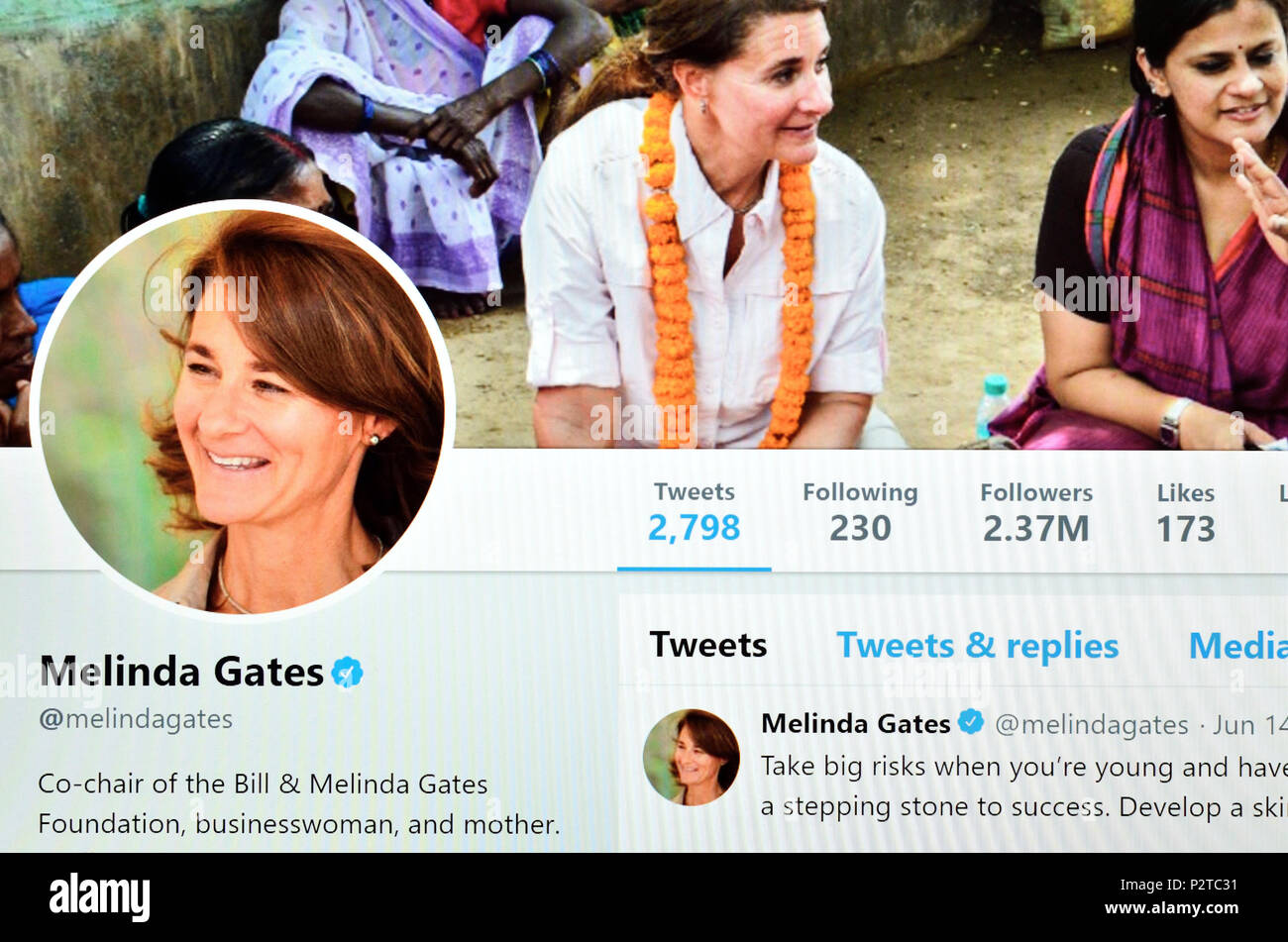 Melinda Gates official Twitter page (2018) - Stock Image