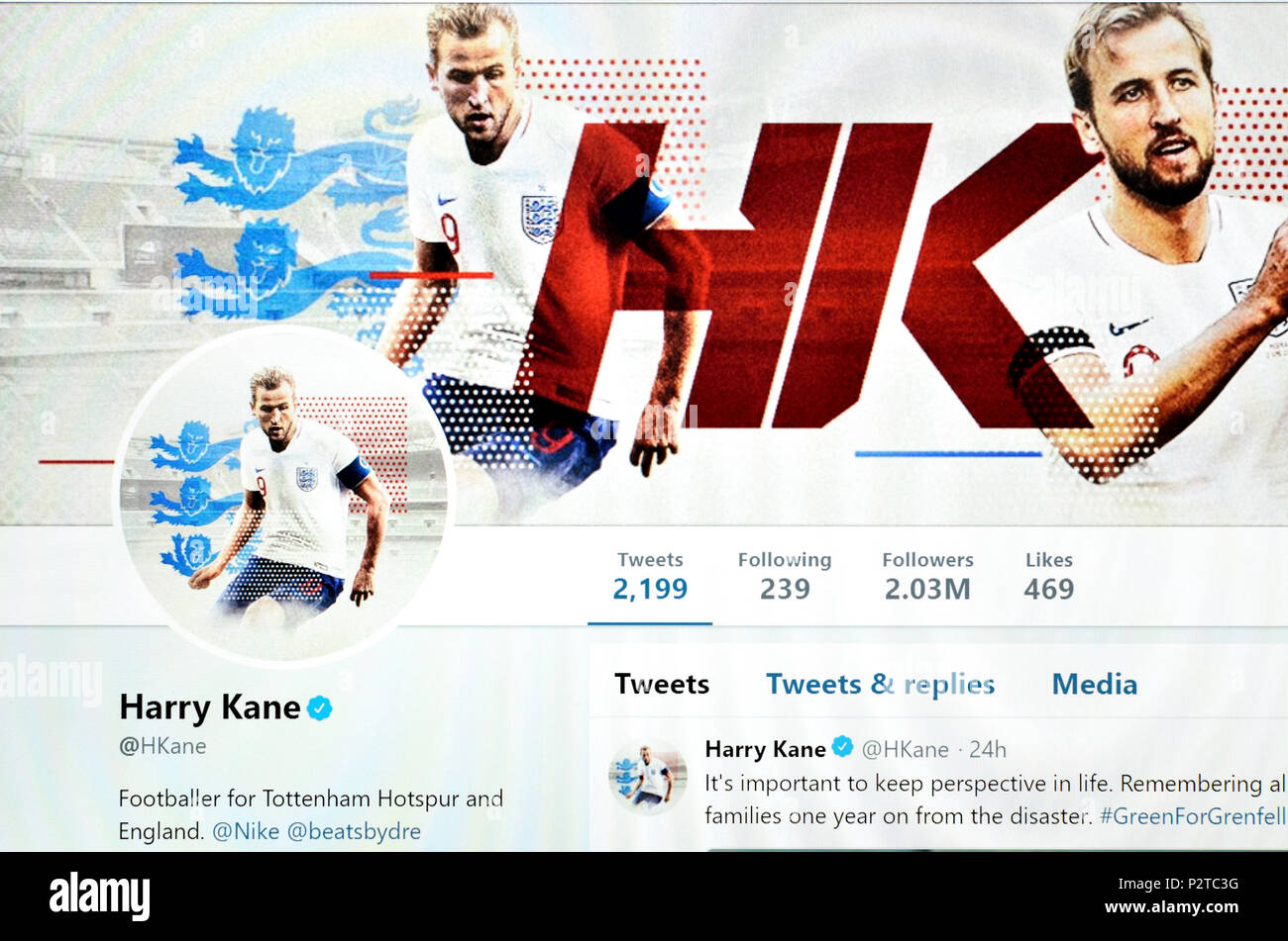 Harry Kane official Twitter page (2018) - Stock Image