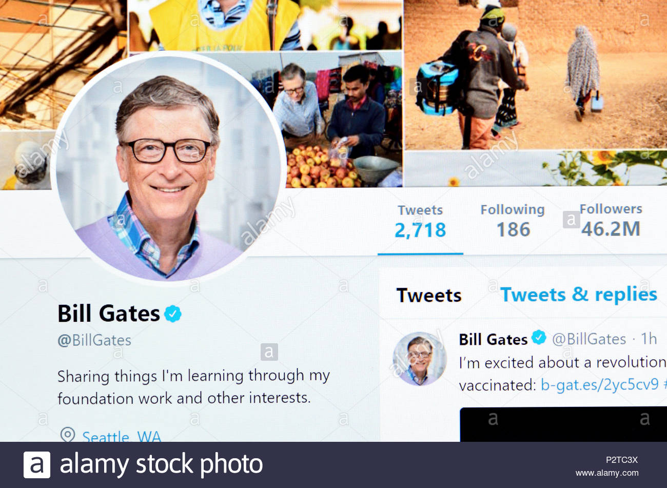 Bill Gates official Twitter page (2018) - Stock Image