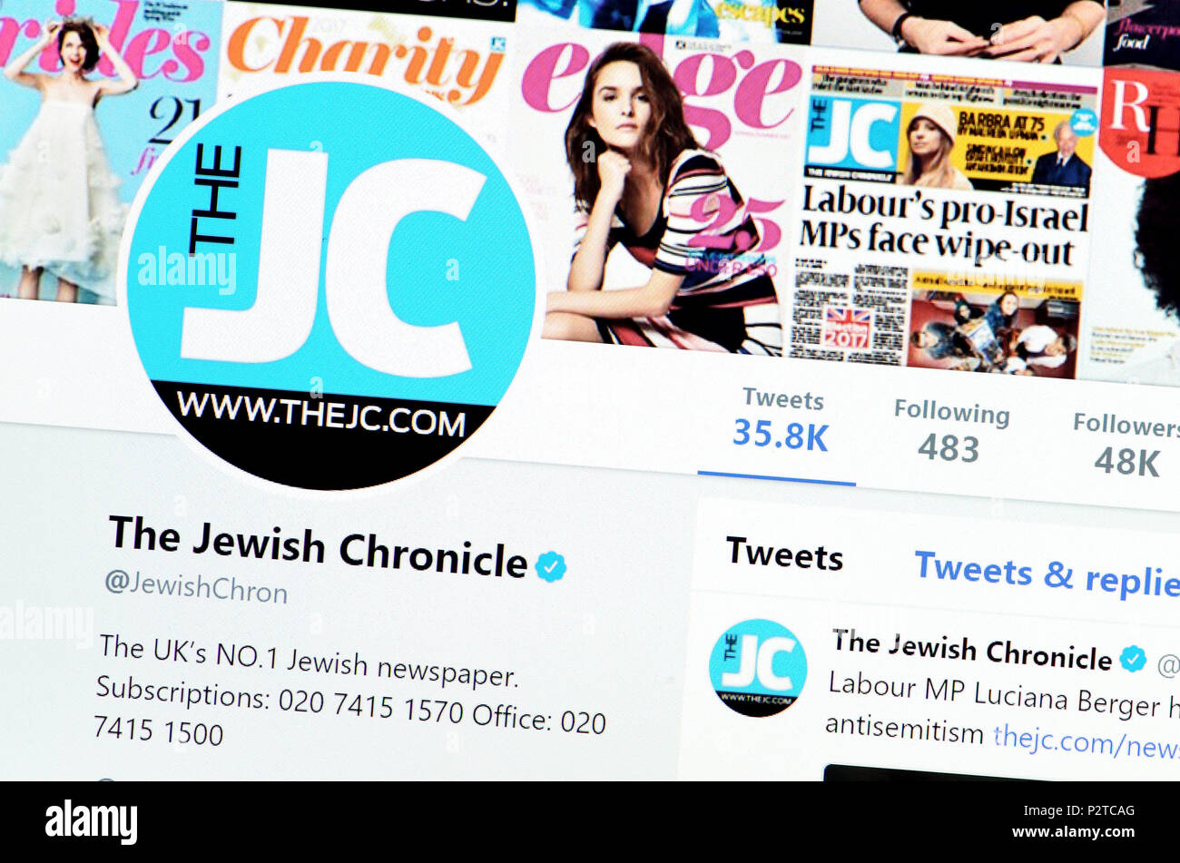 The Jewish Chronicle Twitter page (2018) - Stock Image