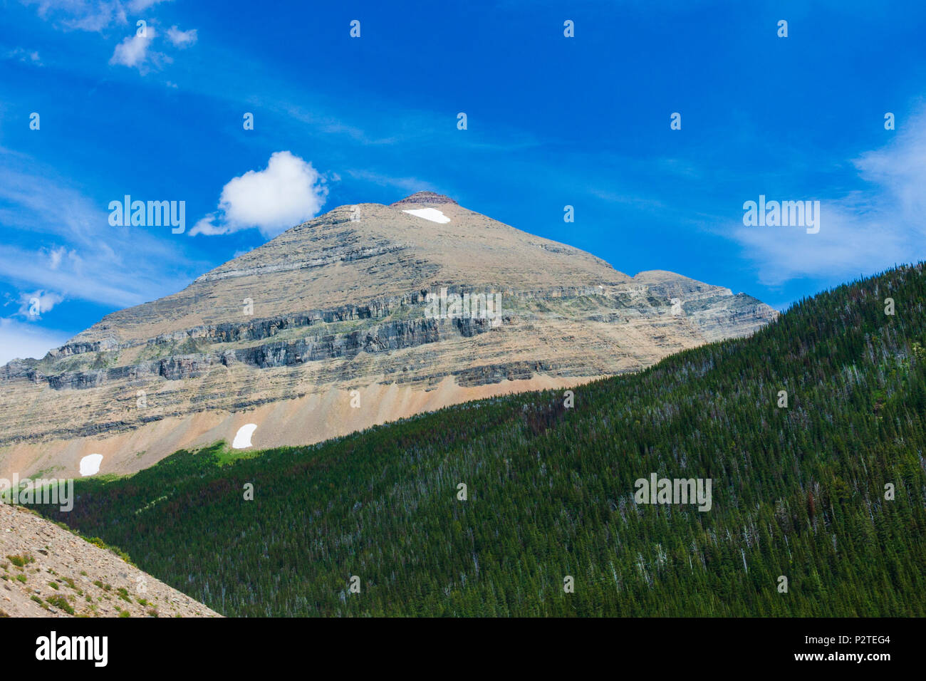 Mount Siyeh in Glacier National Park in Montana. - Stock Image