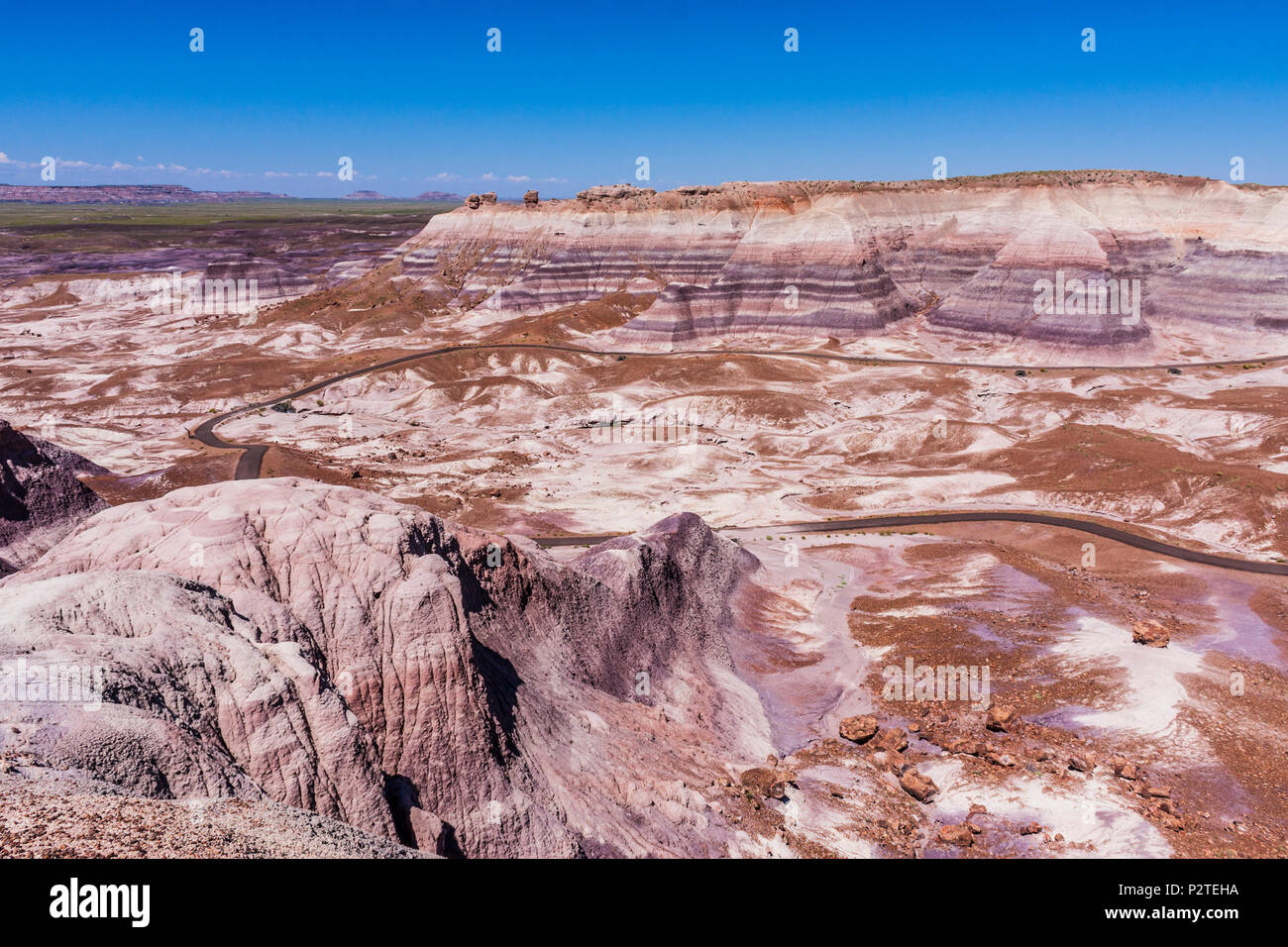 Blue Mesa area of the Painted Desert in the Petrified Forest National Park in Arizona. - Stock Image