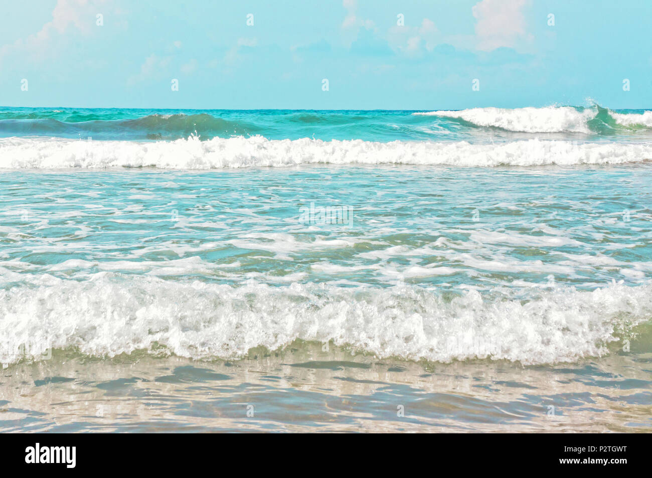 Sea with the foamy waves - Stock Image