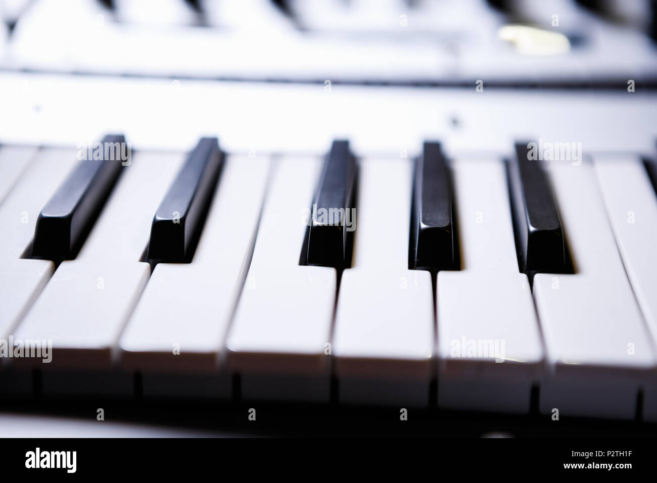 Pianist synthesizer key board.Audio equipment for music production.Sound recording studio device for musician,composer.Professional electronic midi ke - Stock Image