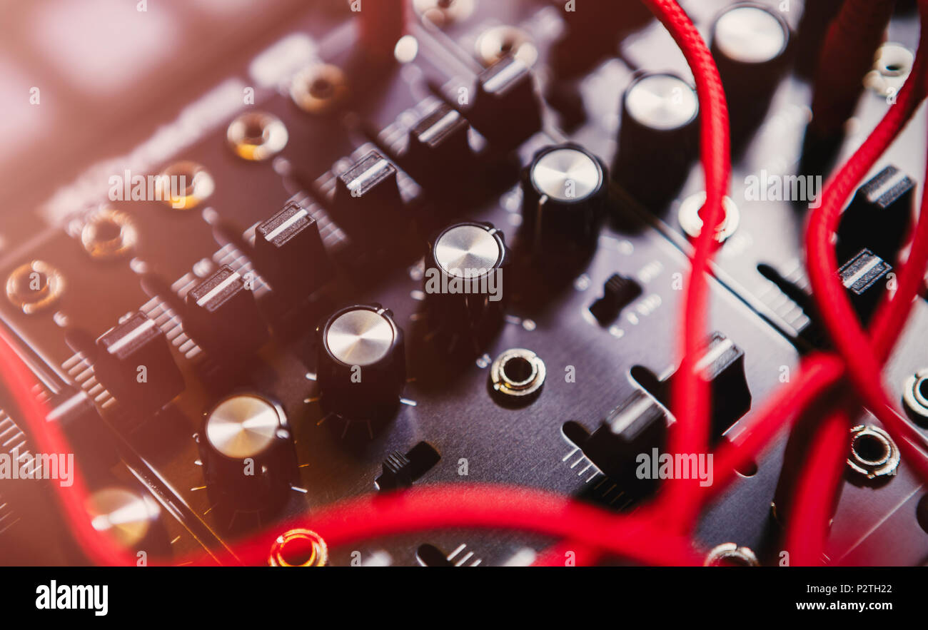 Professional electronic synthesizer board for music composer.Modern studio synth panel for composing new musical tracks in high quality.Many audio cab - Stock Image